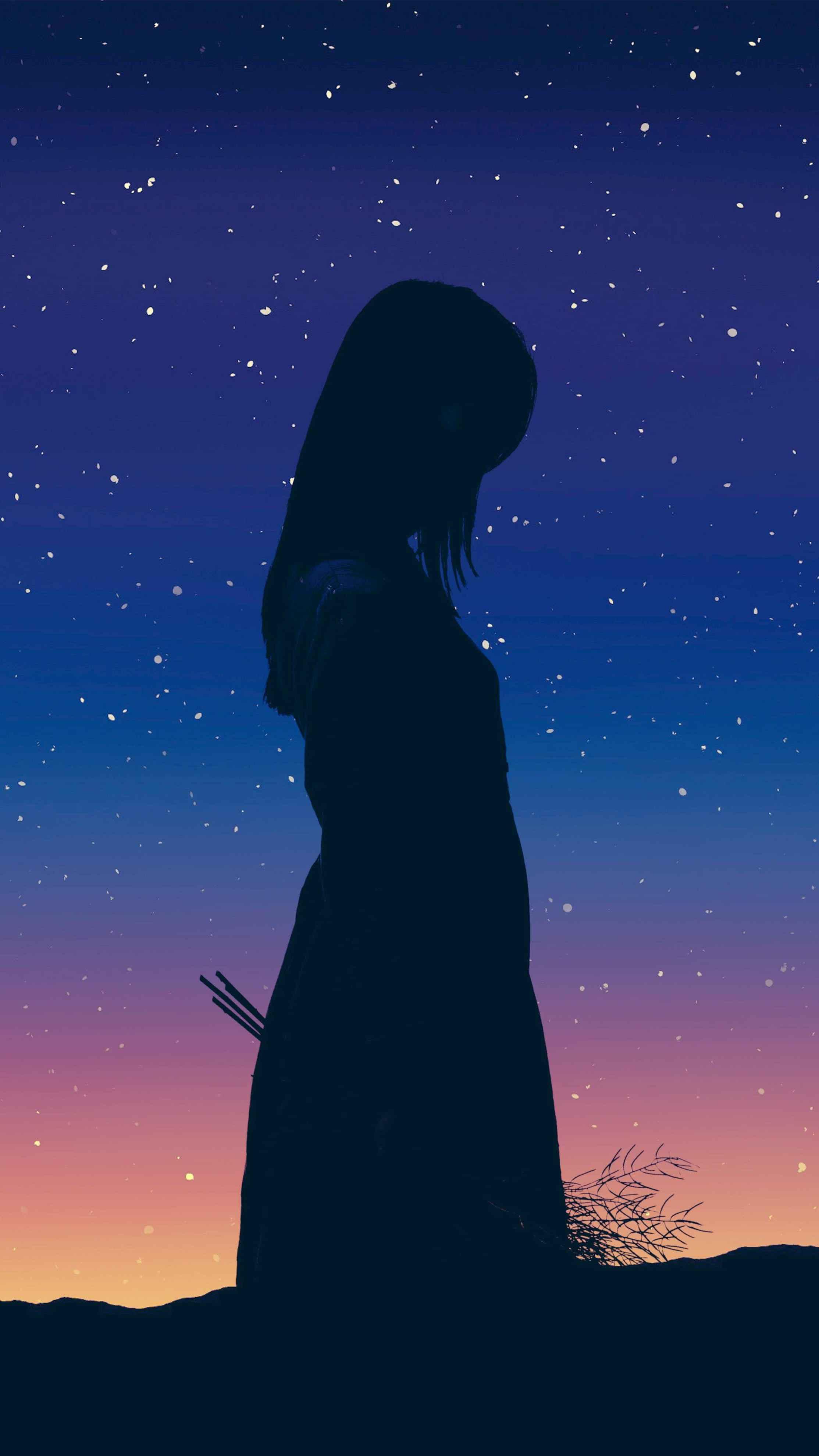 Alone Girl Flowers iPhone Wallpaper