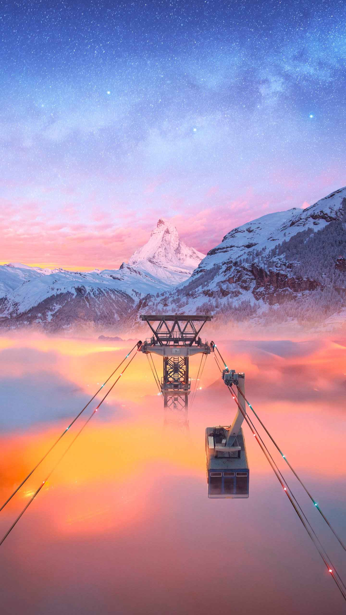 Alps Cable Car view iPhone Wallpaper