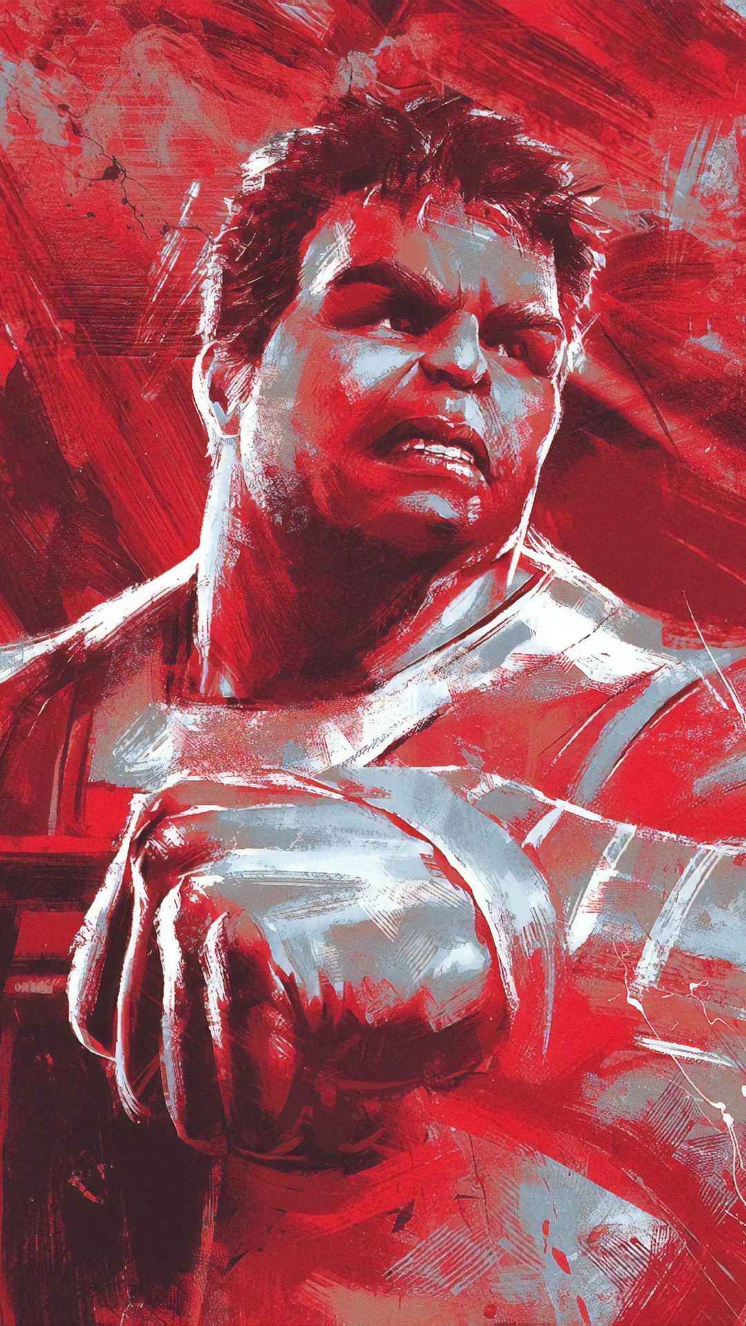 Avengers Endgame Professor Hulk Red Art iPhone Wallpaper