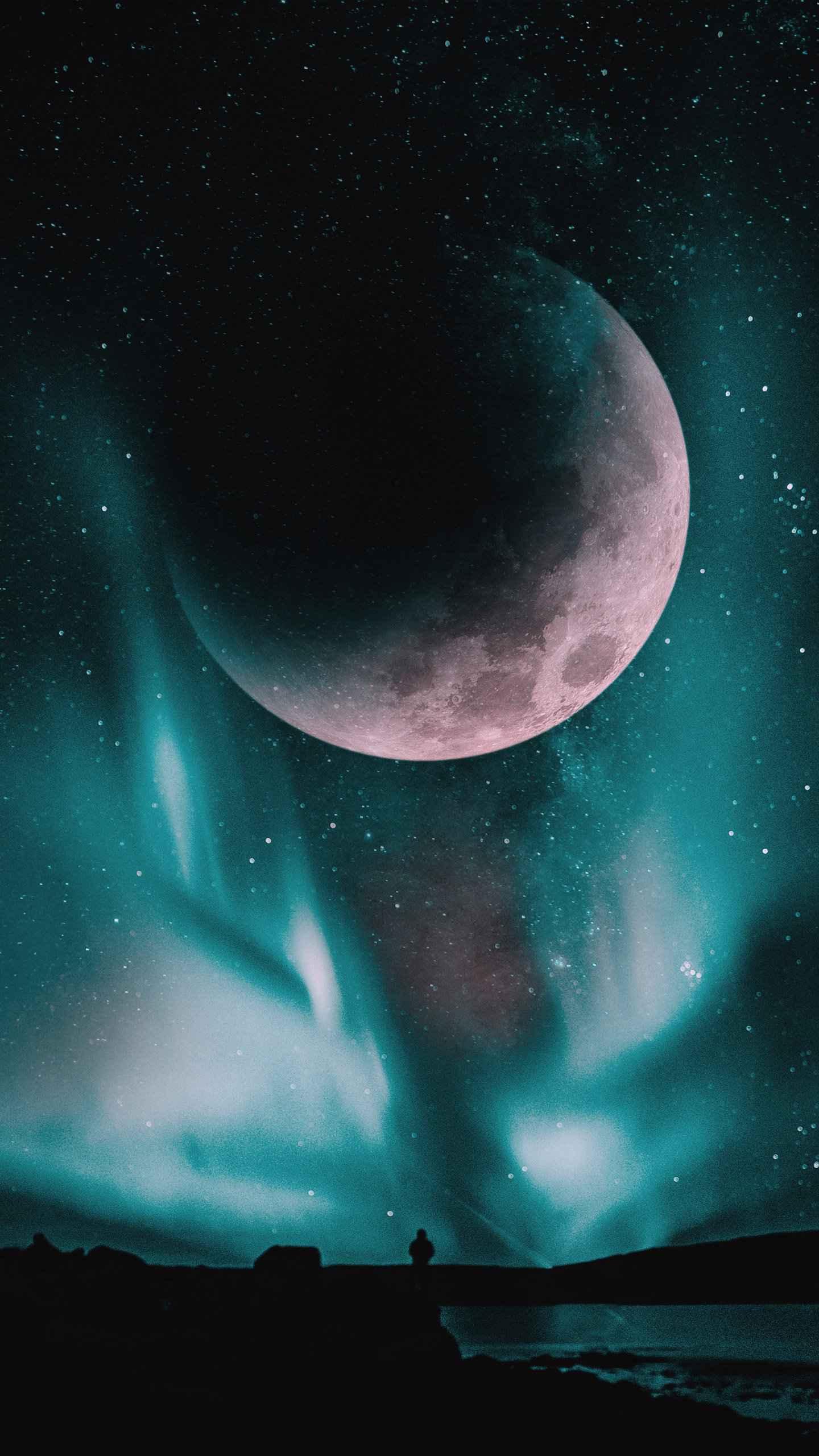 Big Moon Sky Aurora iPhone Wallpaper