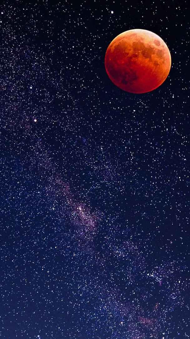 Blood Moon Night Stars iPhone Wallpaper