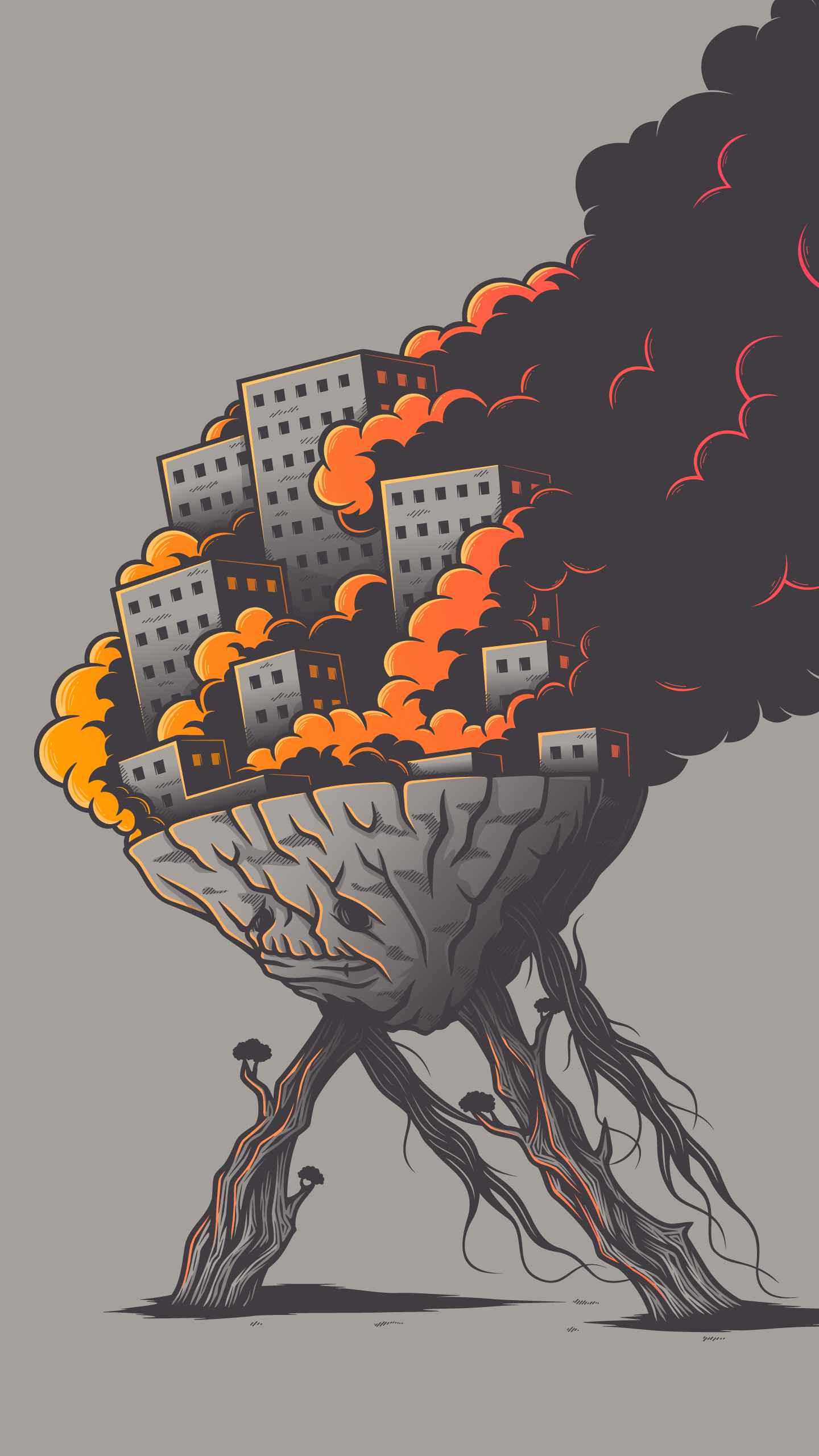 Burning City iPhone Wallpaper
