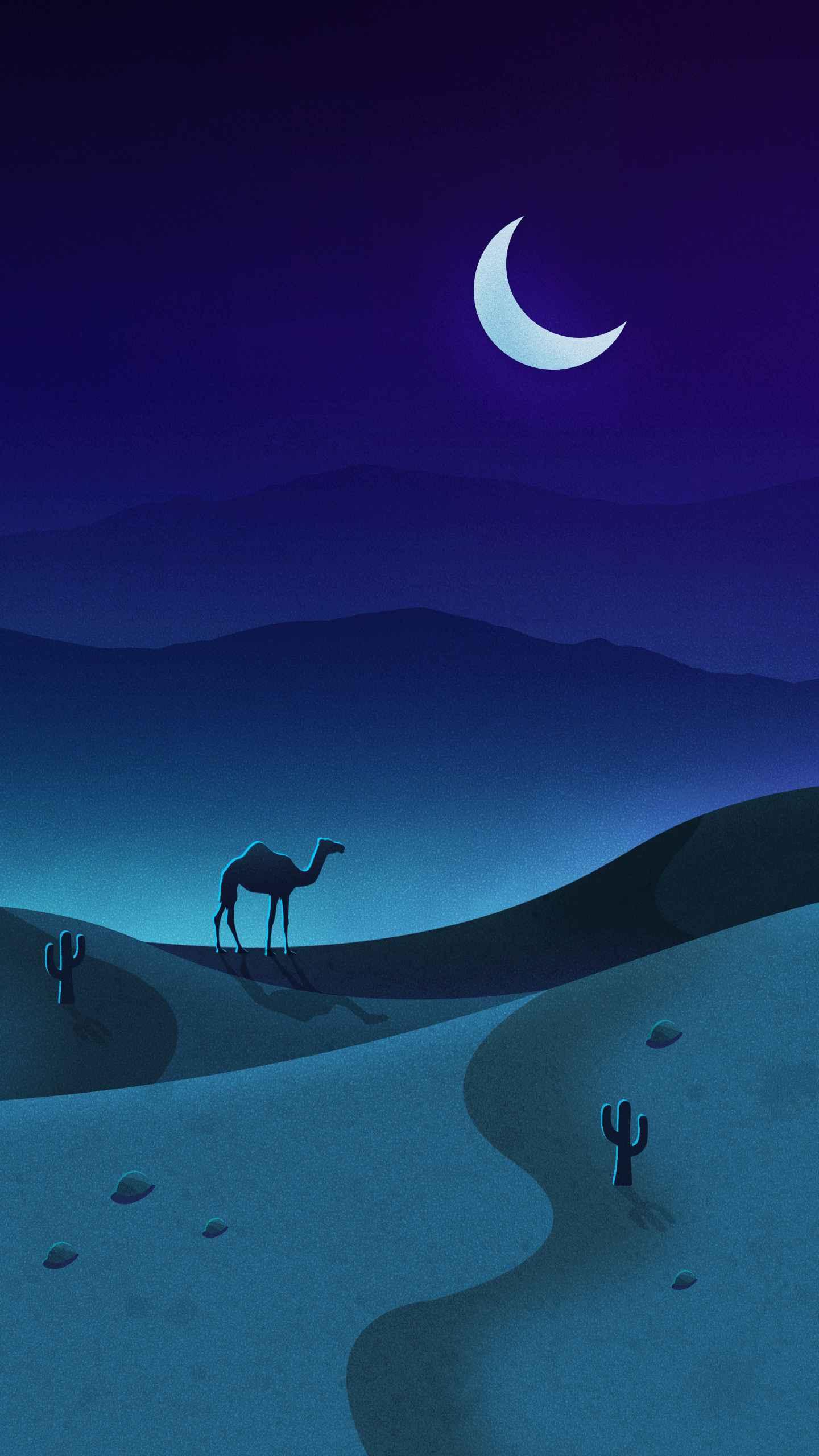 Camel Night Desert iPhone Wallpaper