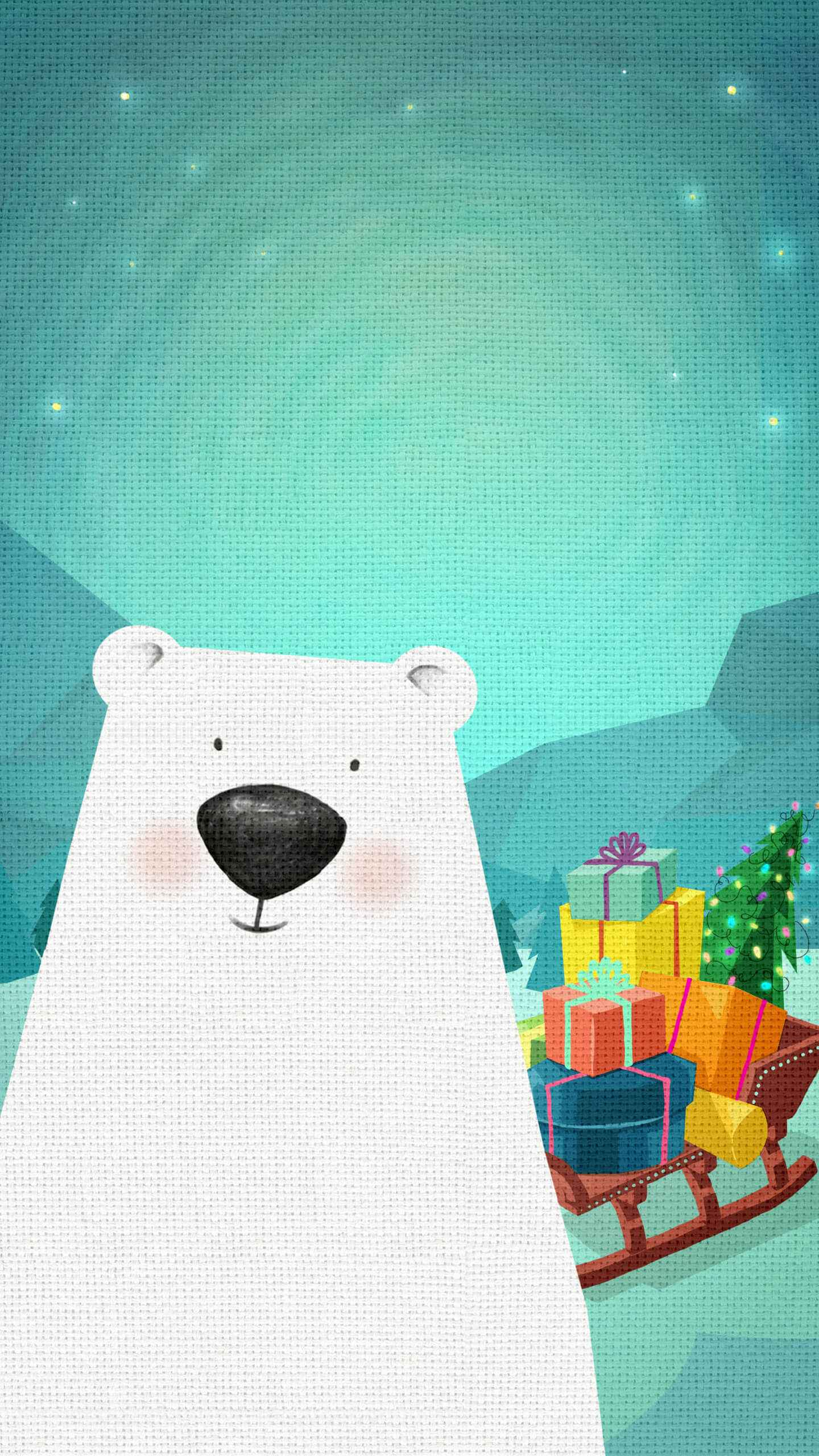 Christmas Bear iPhone Wallpaper