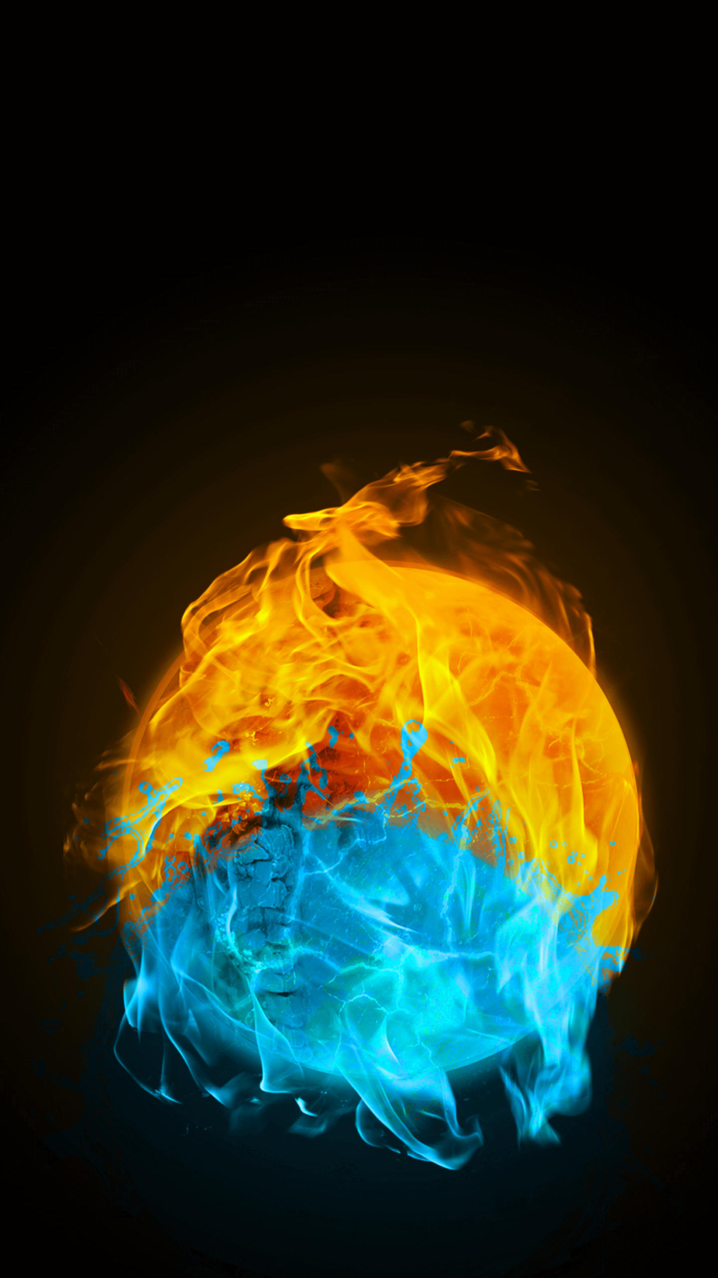 Cold and fire iPhone Wallpaper