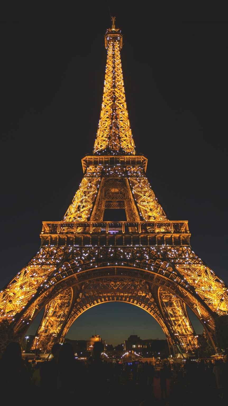 Eiffel Tower Night Glow iPhone Wallpaper