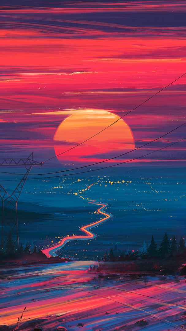 Evening Sunset Horizon City iPhone Wallpaper