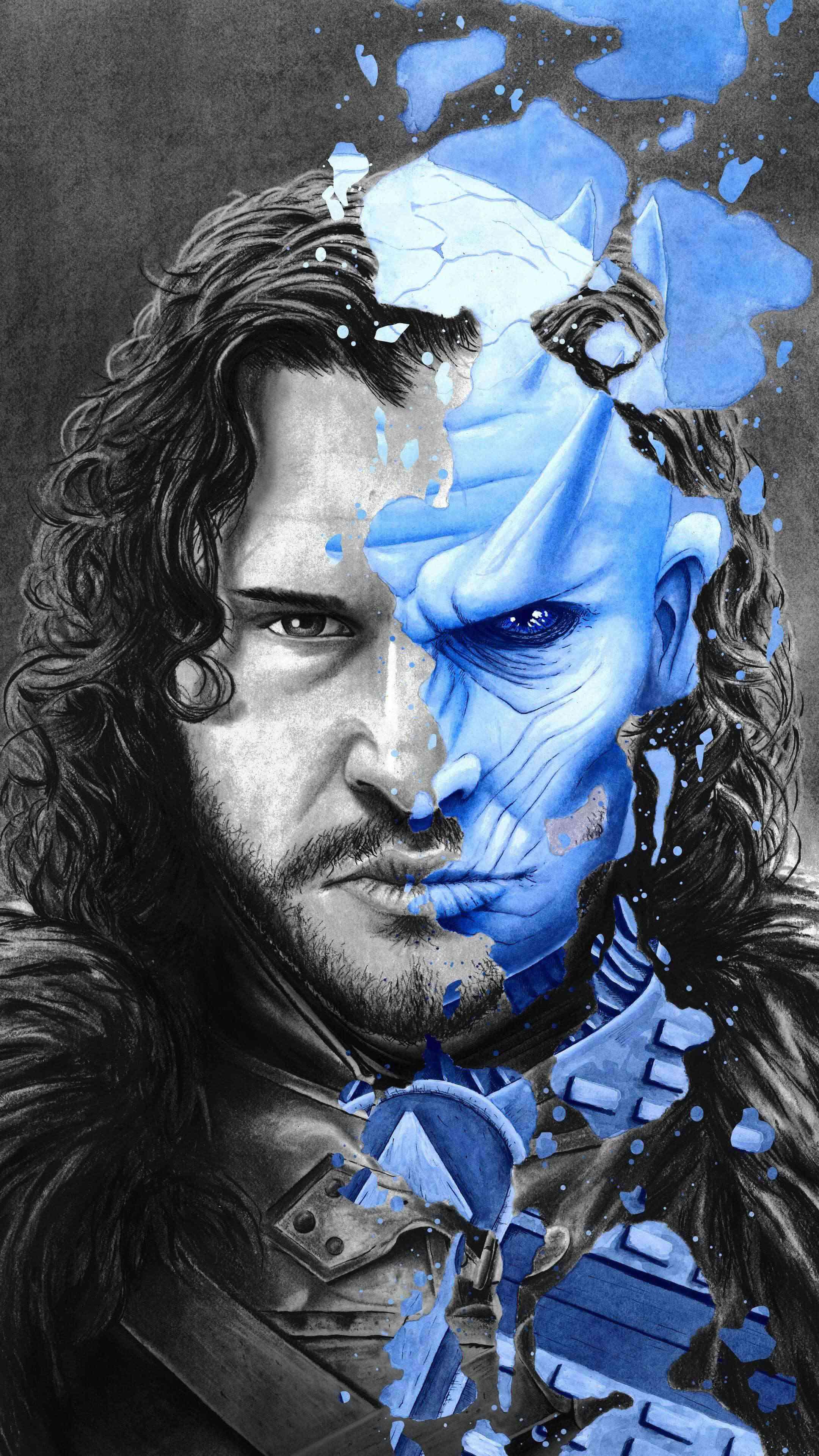 Game of Thrones Jon Snow White Walker iPhone Wallpaper