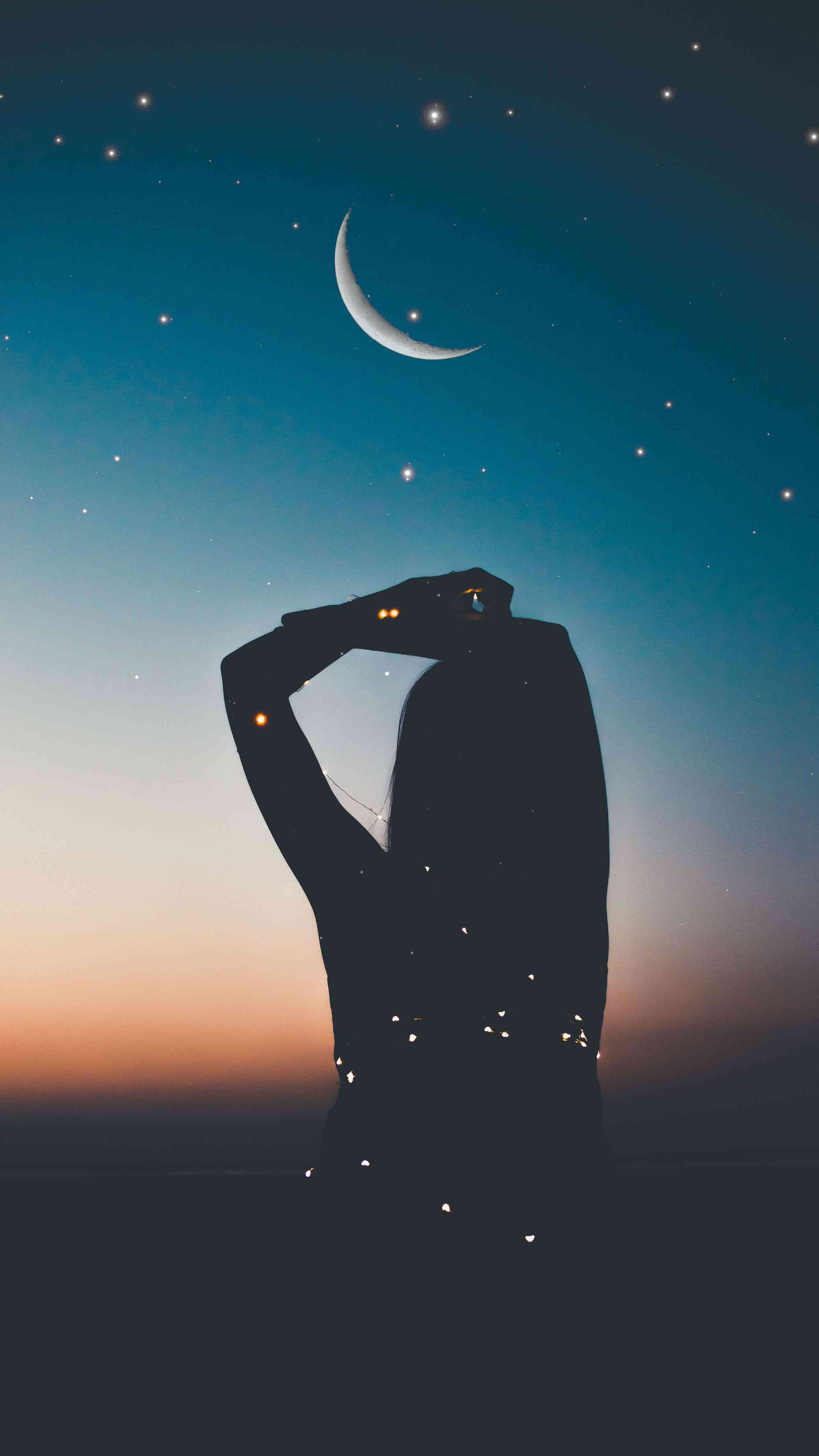 Girl and Moon iPhone Wallpaper
