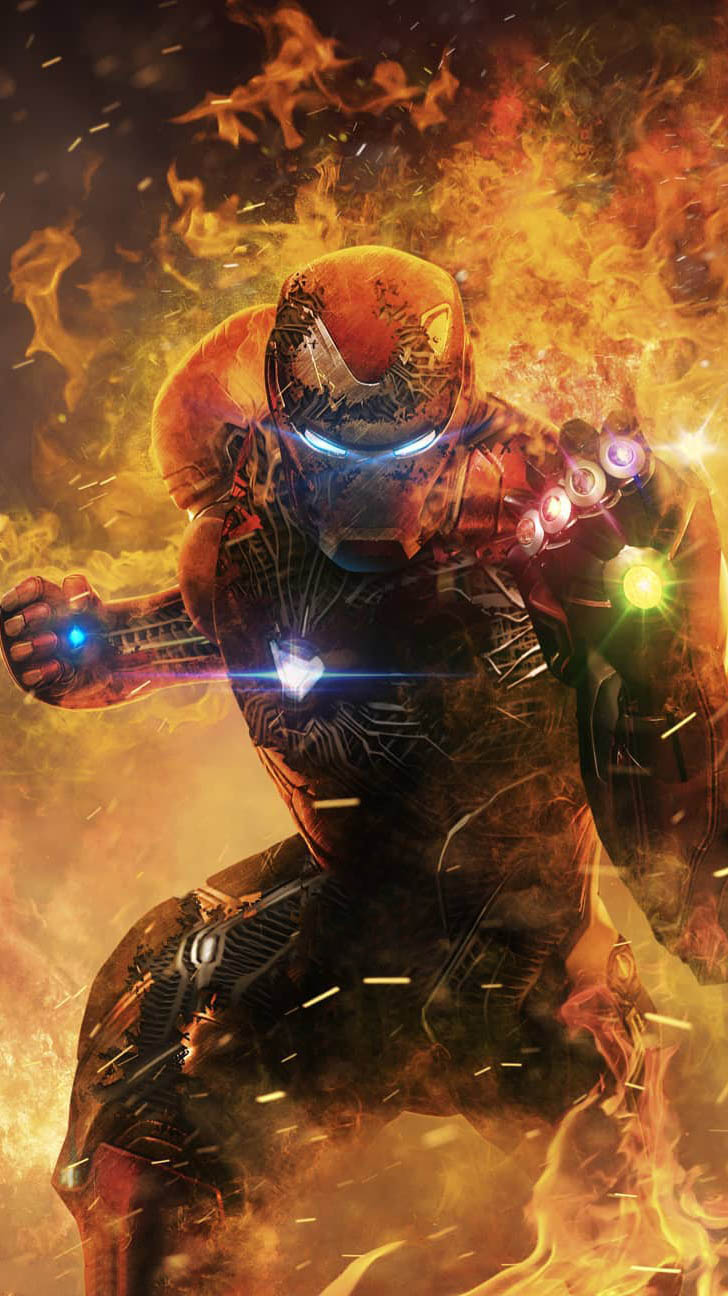 Iron Man Infinity Stones Avengers Endgame iPhone Wallpaper
