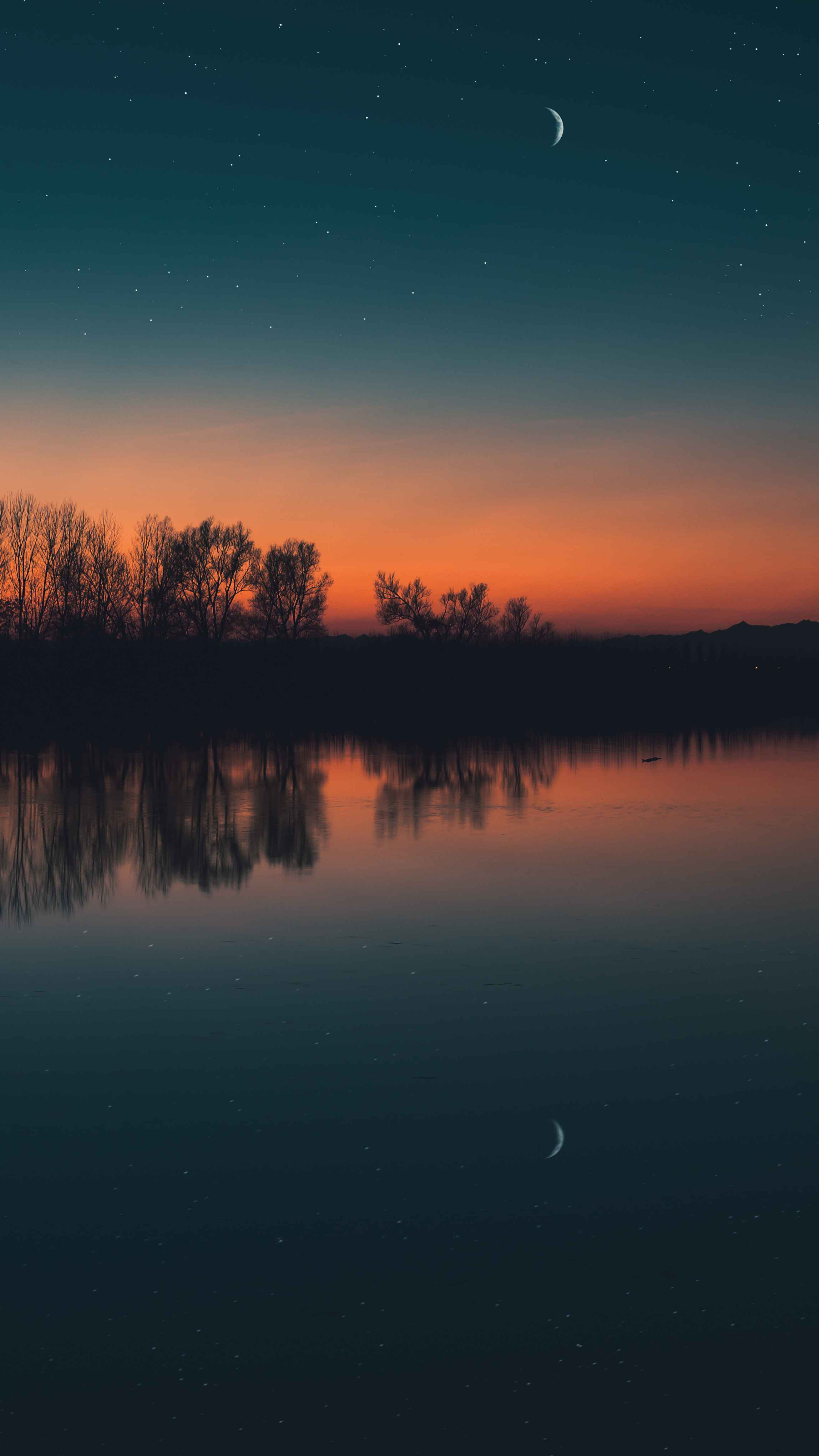Lake Reflection Evening Moon iPhone Wallpaper