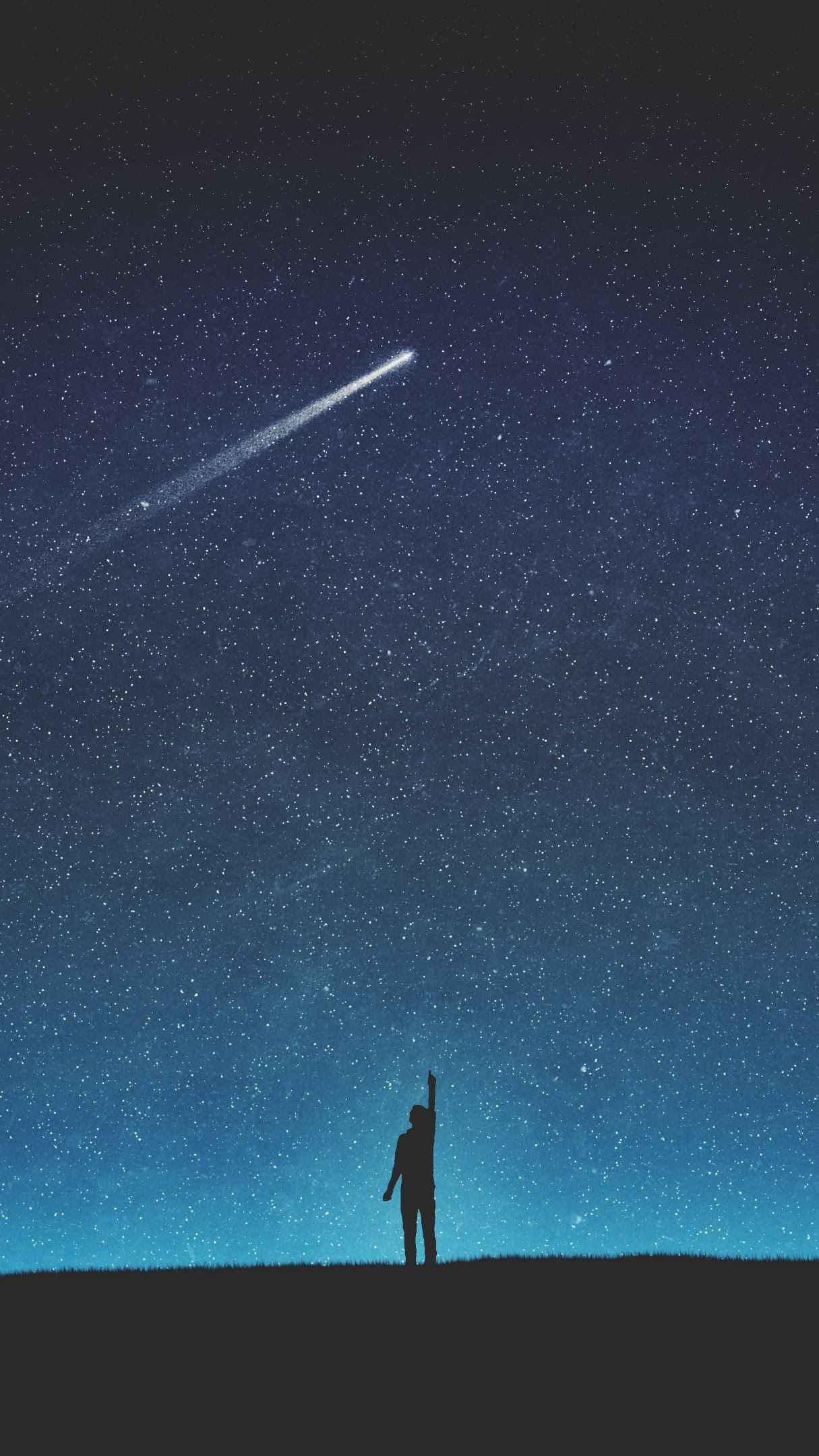 Man Sky Meteor iPhone Wallpaper