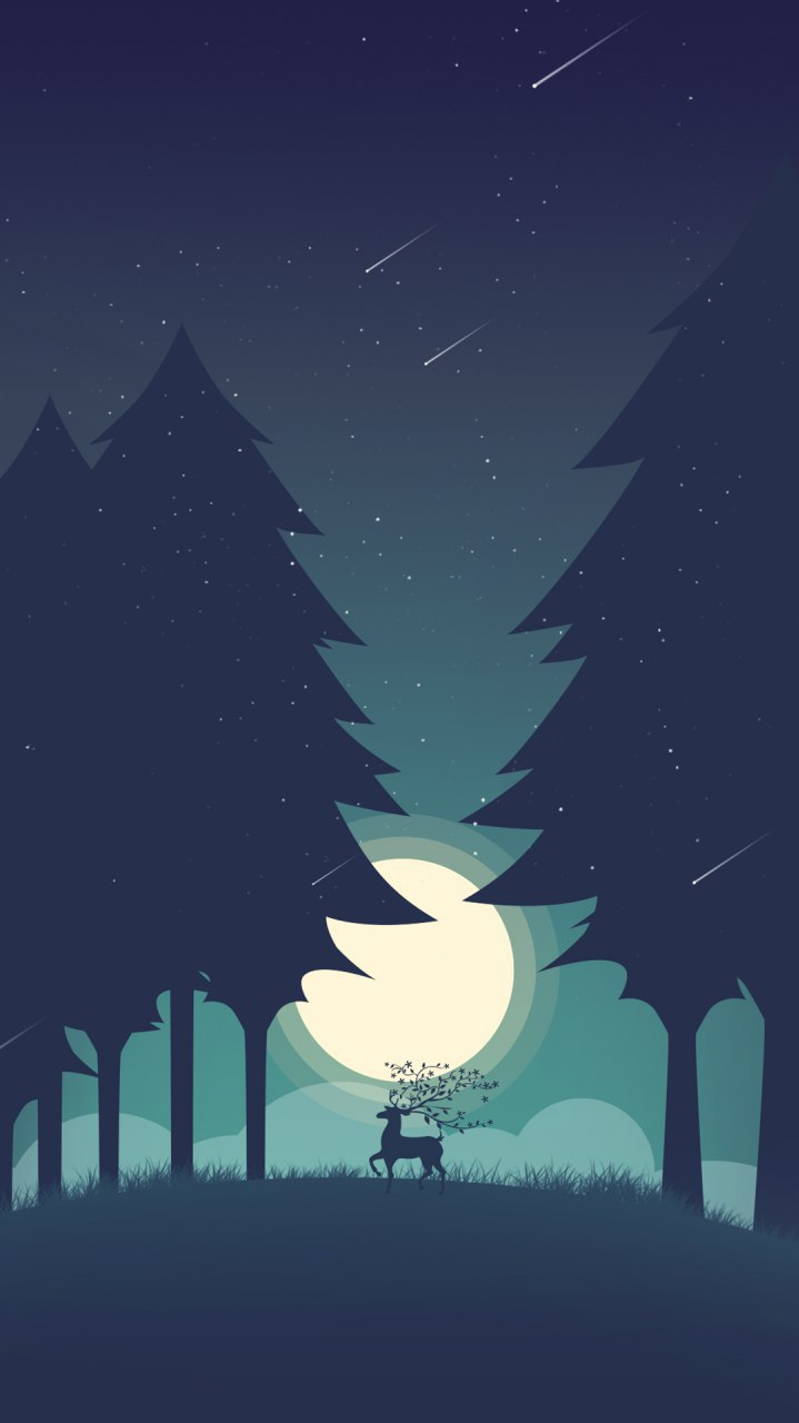 Minamilistic Forest Deer iPhone Wallpaper