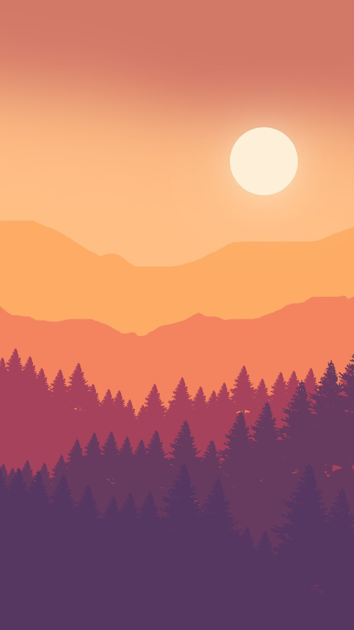 Minimal Forest and Sun iPhone Wallpaper