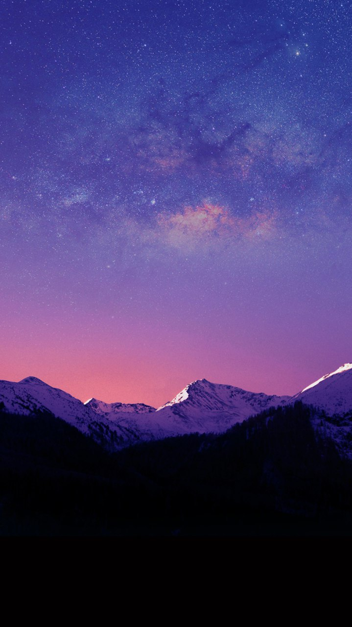 Mountains Night Winter Space View iPhone Wallpaper