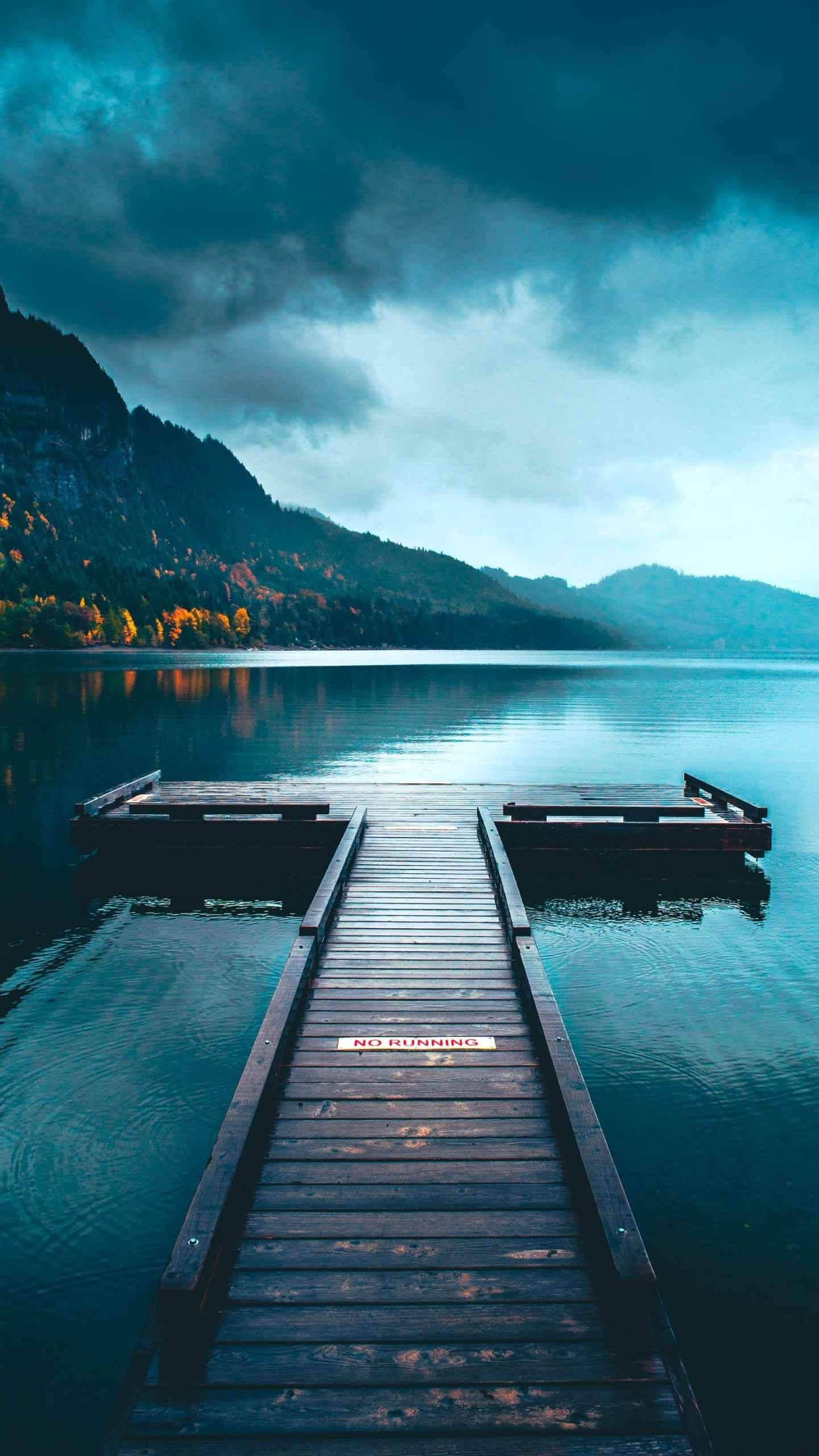 Nature Pier Lake iPhone Wallpaper