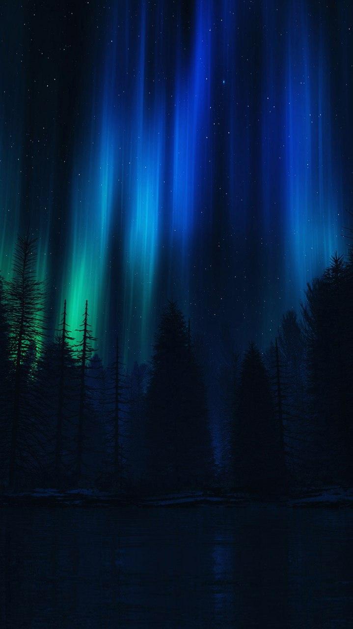 Night Polar Lights Sky iPhone Wallpaper