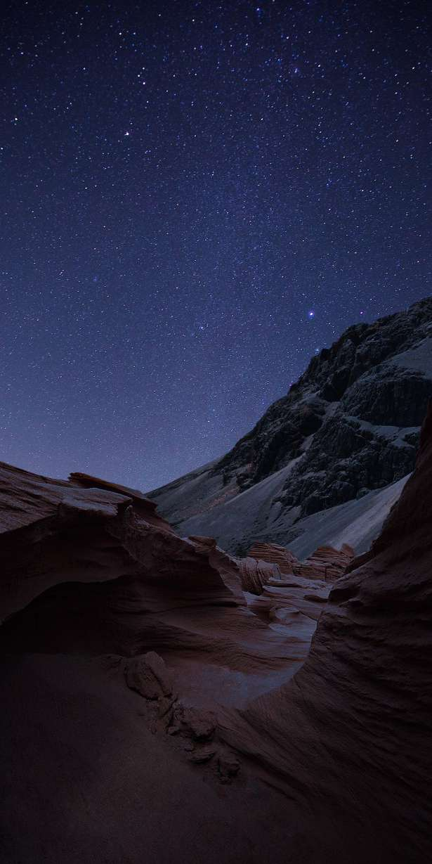 Night Sky Mountain HD iPhone Wallpaper
