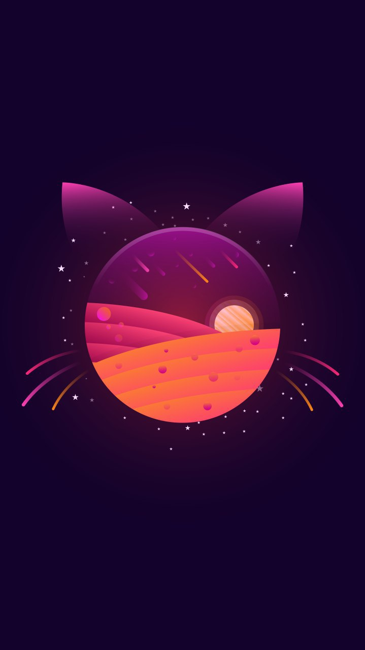 Planet Kitty Art iPhone Wallpaper