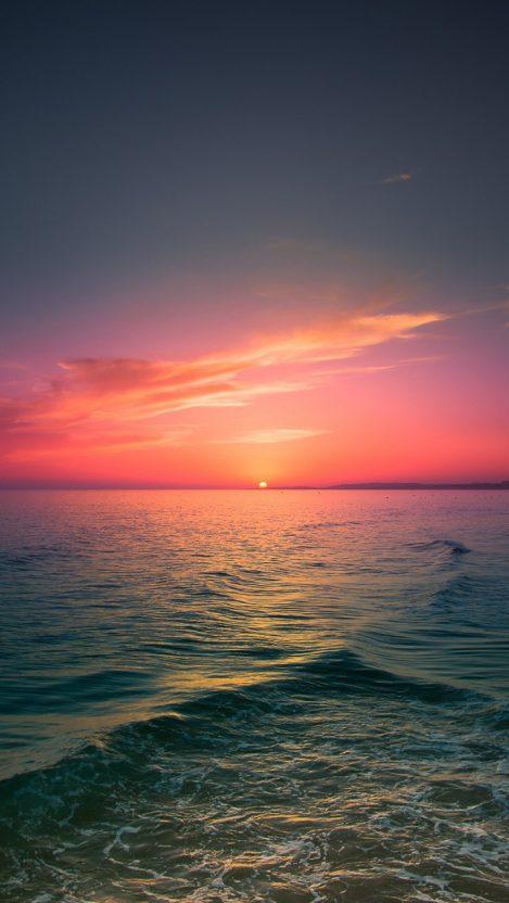 Sea Sunset Clouds Horizon iPhone Wallpaper