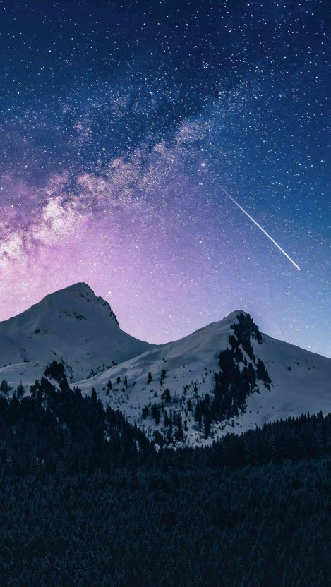 Snow Mountain Night Space Meteor iPhone Wallpaper
