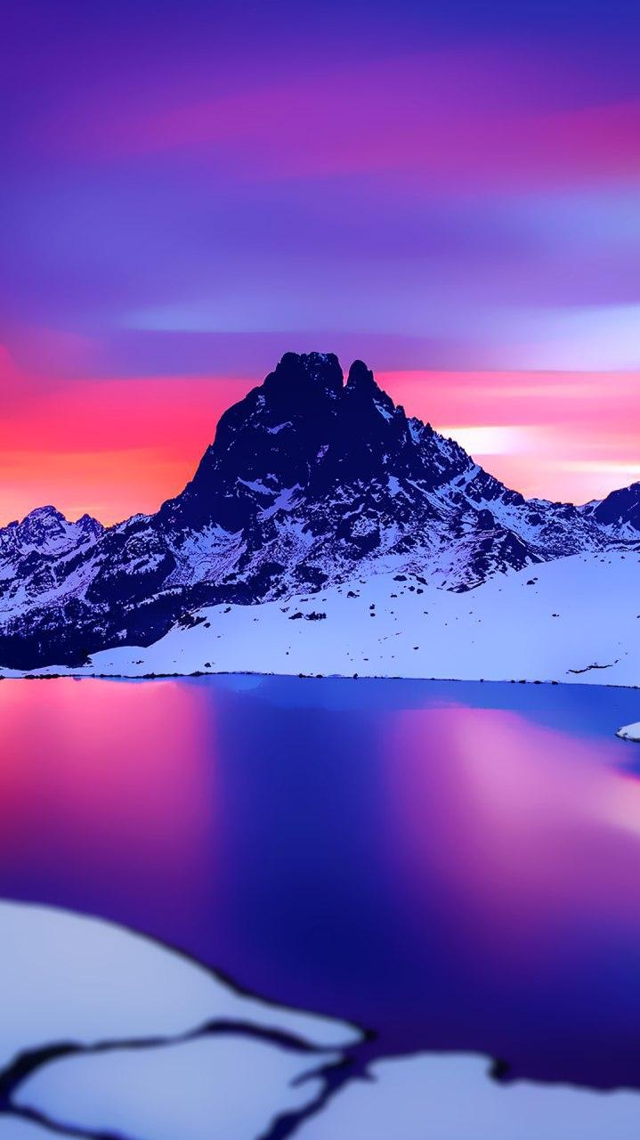 Snow Mountain River iPhone Wallpaper