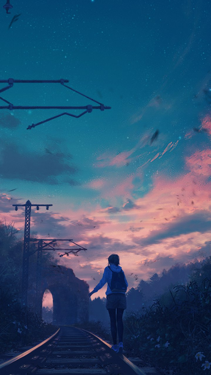 Walking on RailRoad iPhone Wallpaper