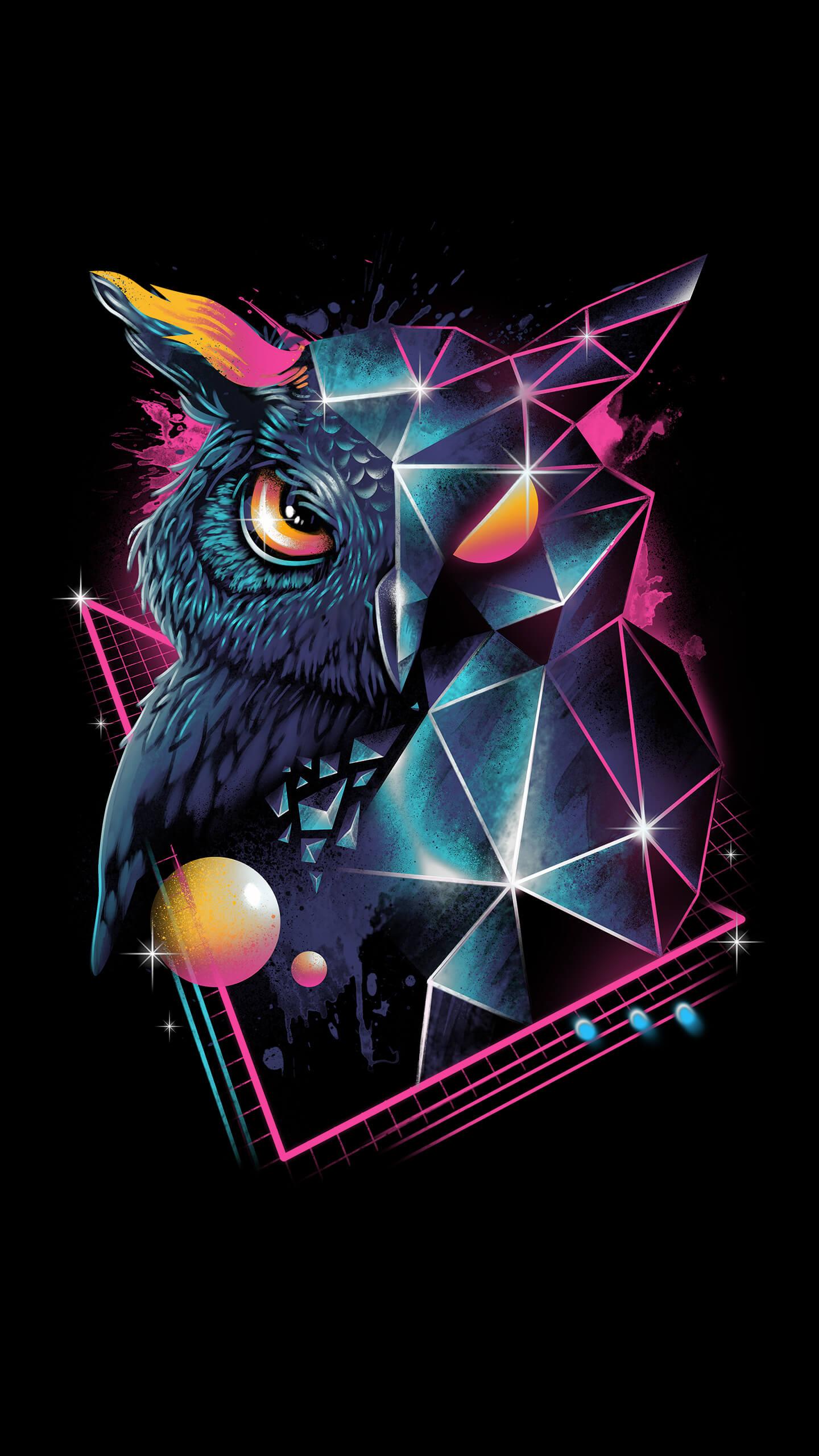 Wild Owl Art iPhone Wallpaper
