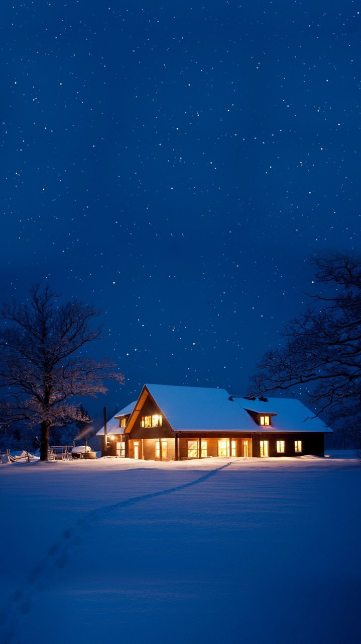 Winter House Snow Night iPhone Wallpaper