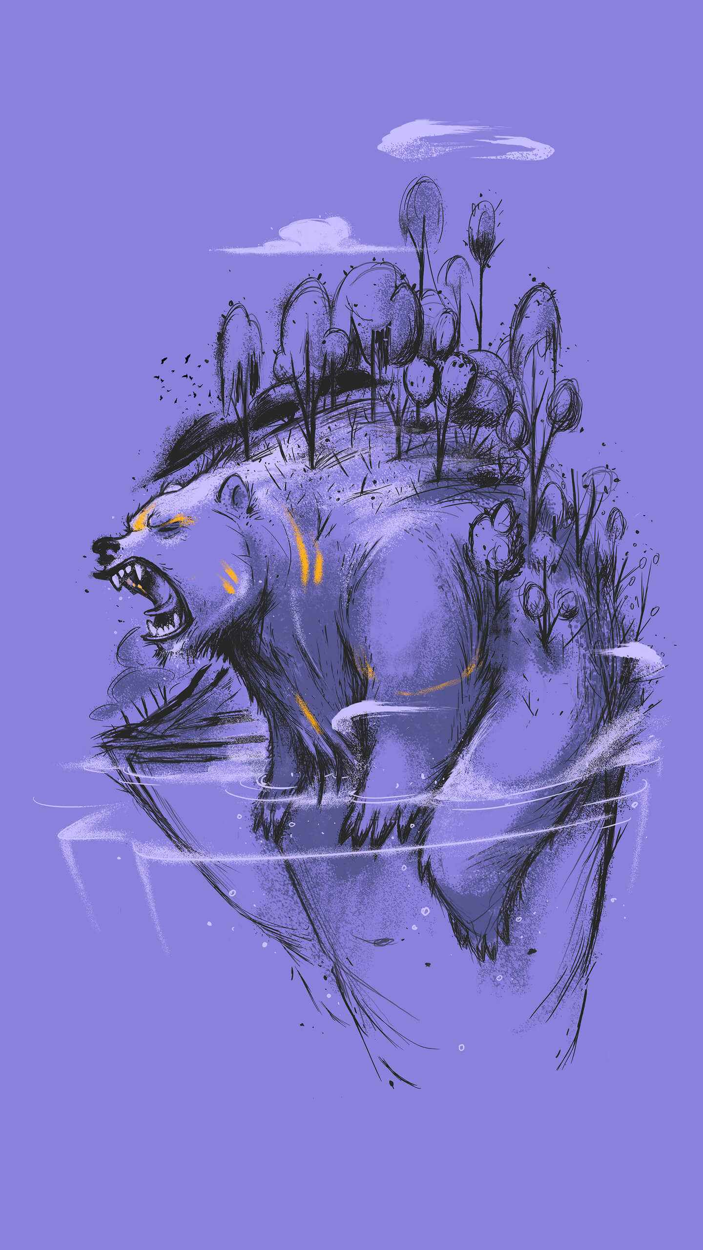 Angry Bear Forest iPhone Wallpaper