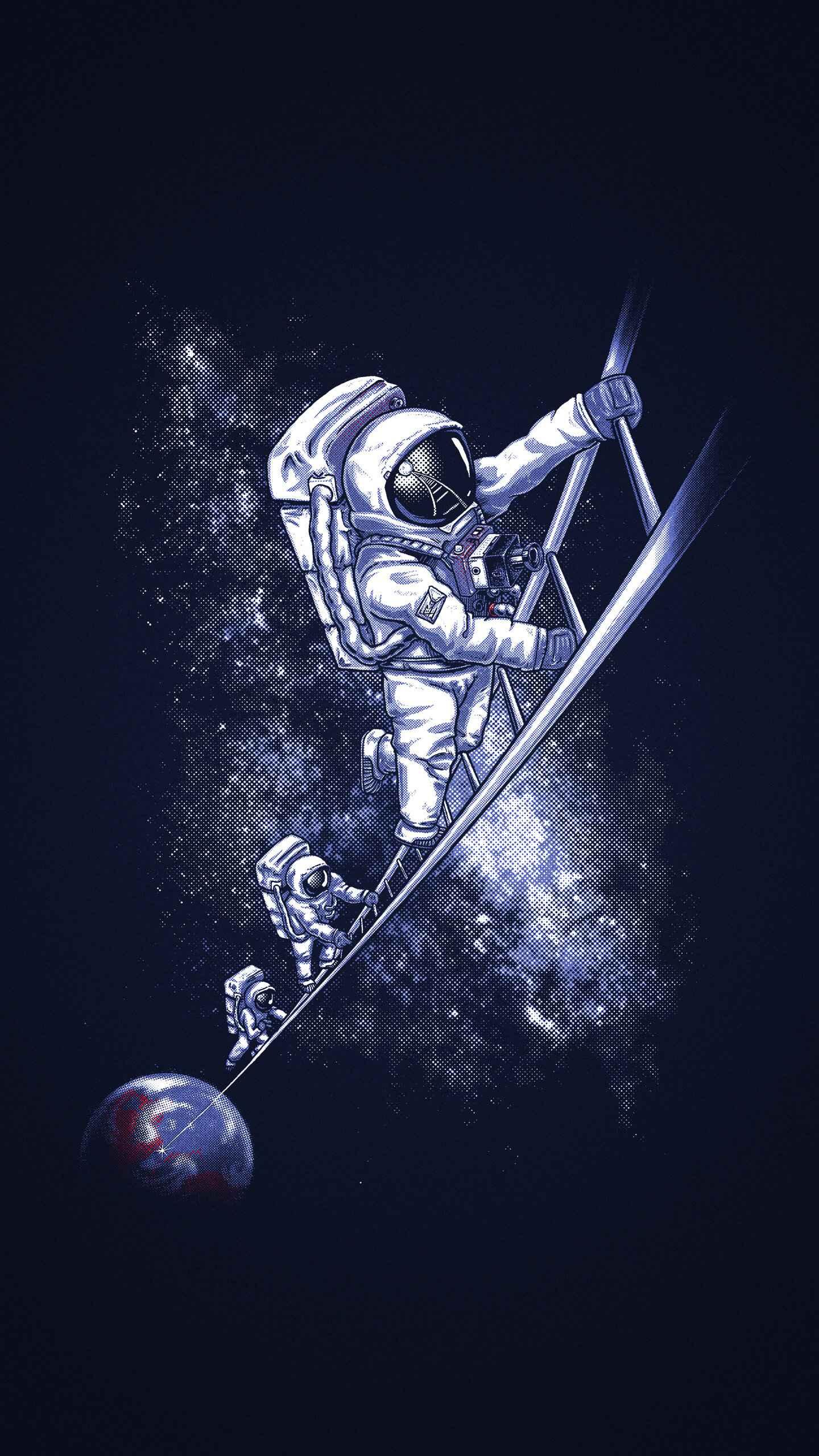 Astronaut Space Ladder iPhone Wallpaper