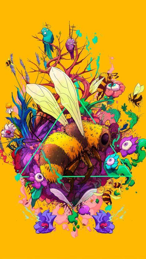 Bee Art iPhone Wallpaper