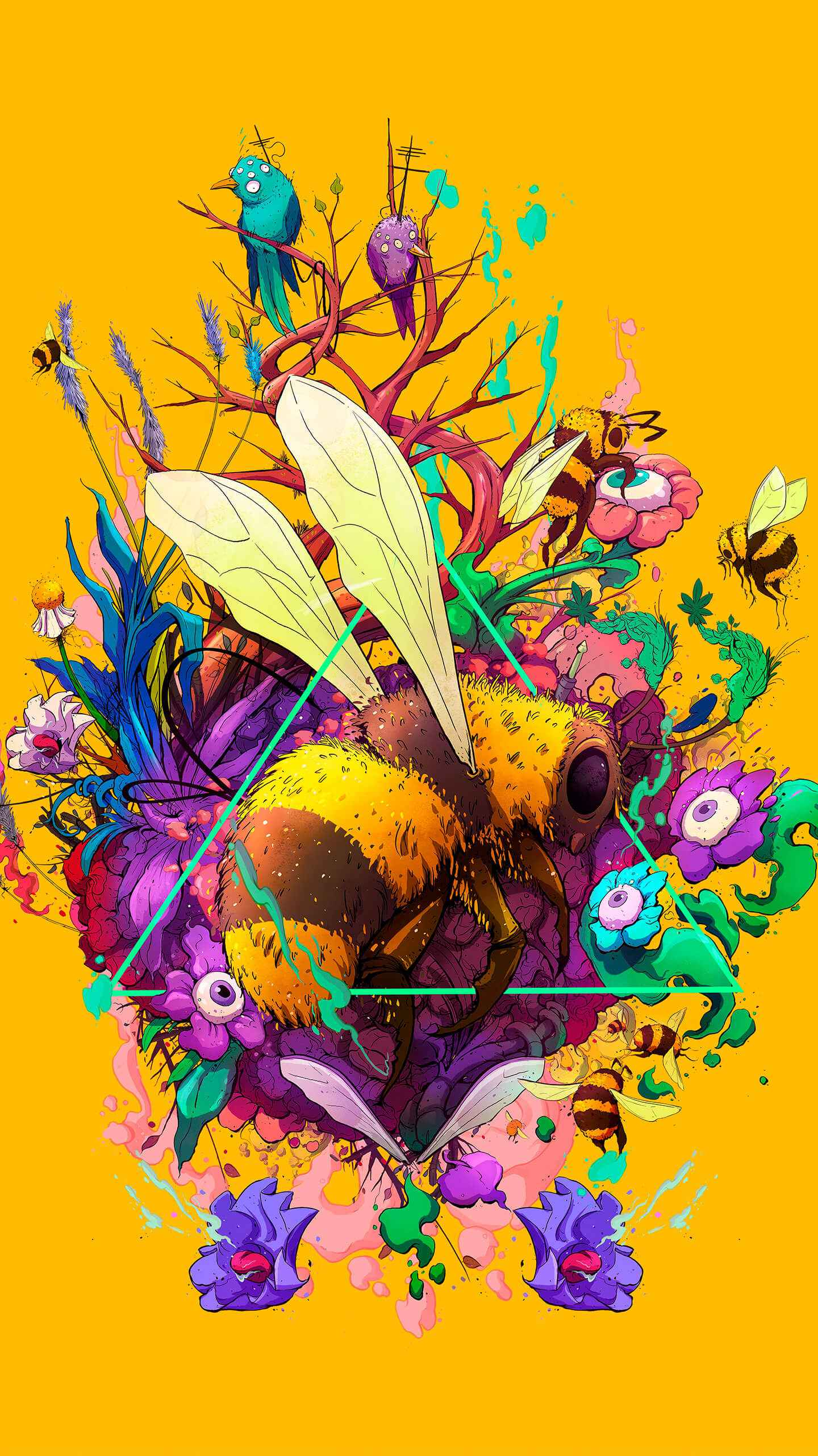 Bee Art iPhone Wallpaper