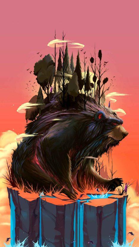 Black Bear Forest iPhone Wallpaper