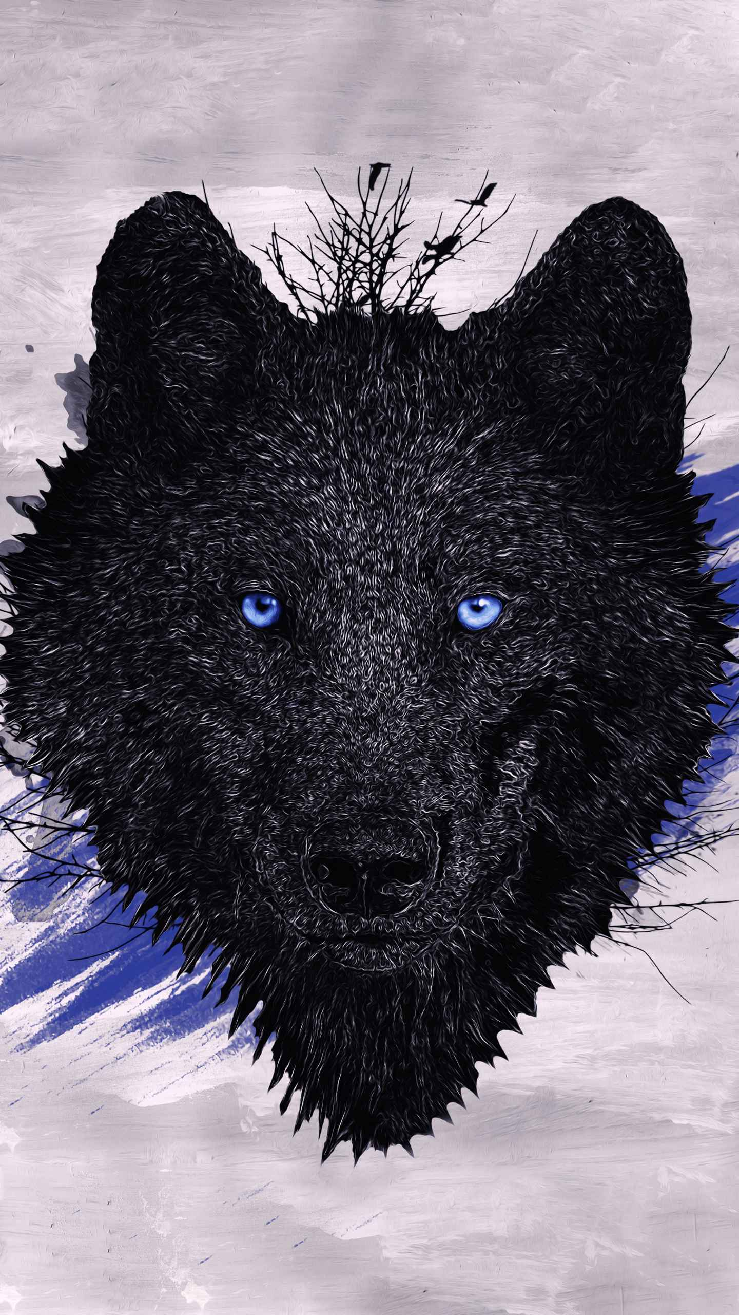 black wolf paint iphone wallpaper