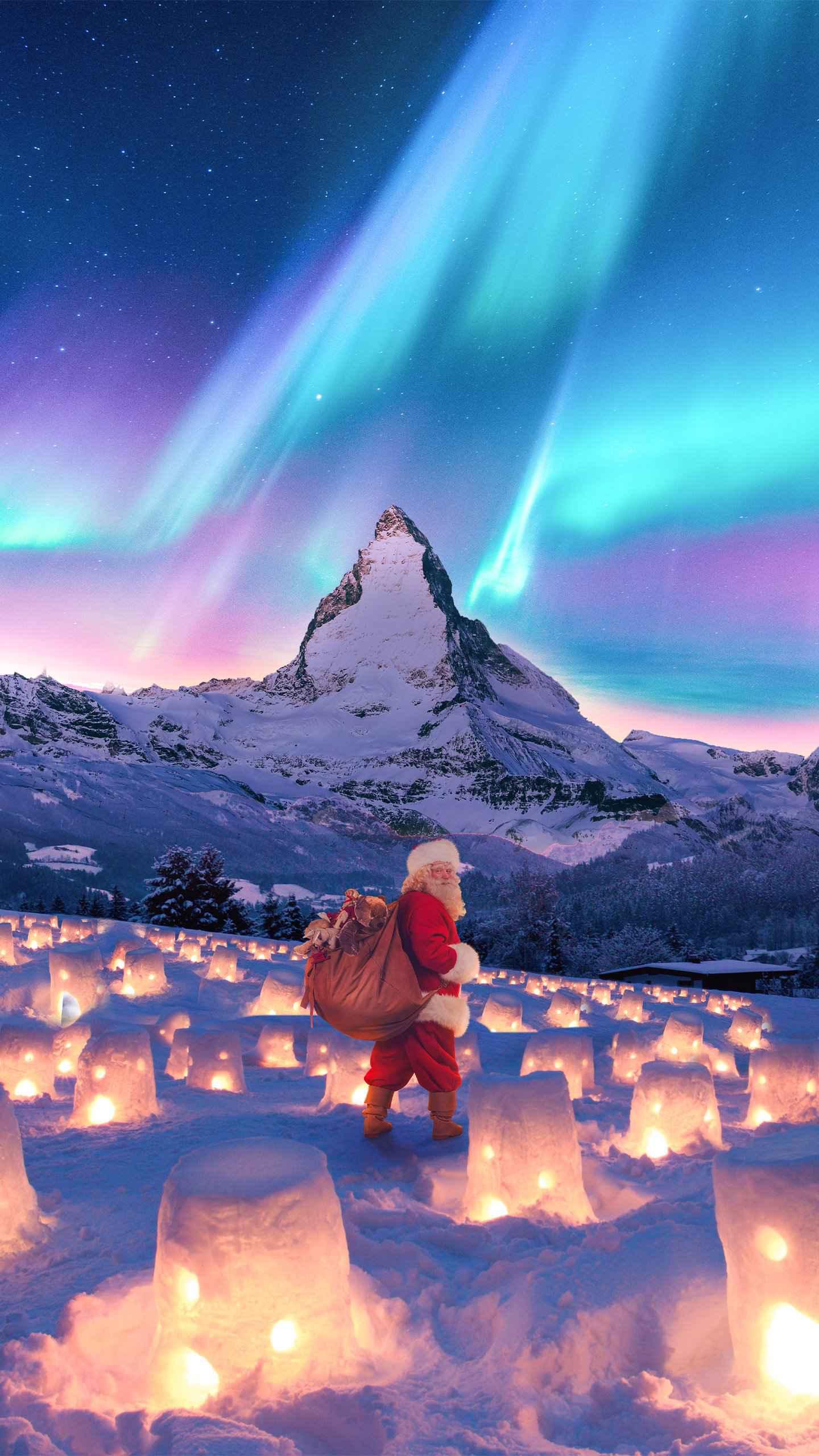 Christmas Alps iPhone Wallpaper