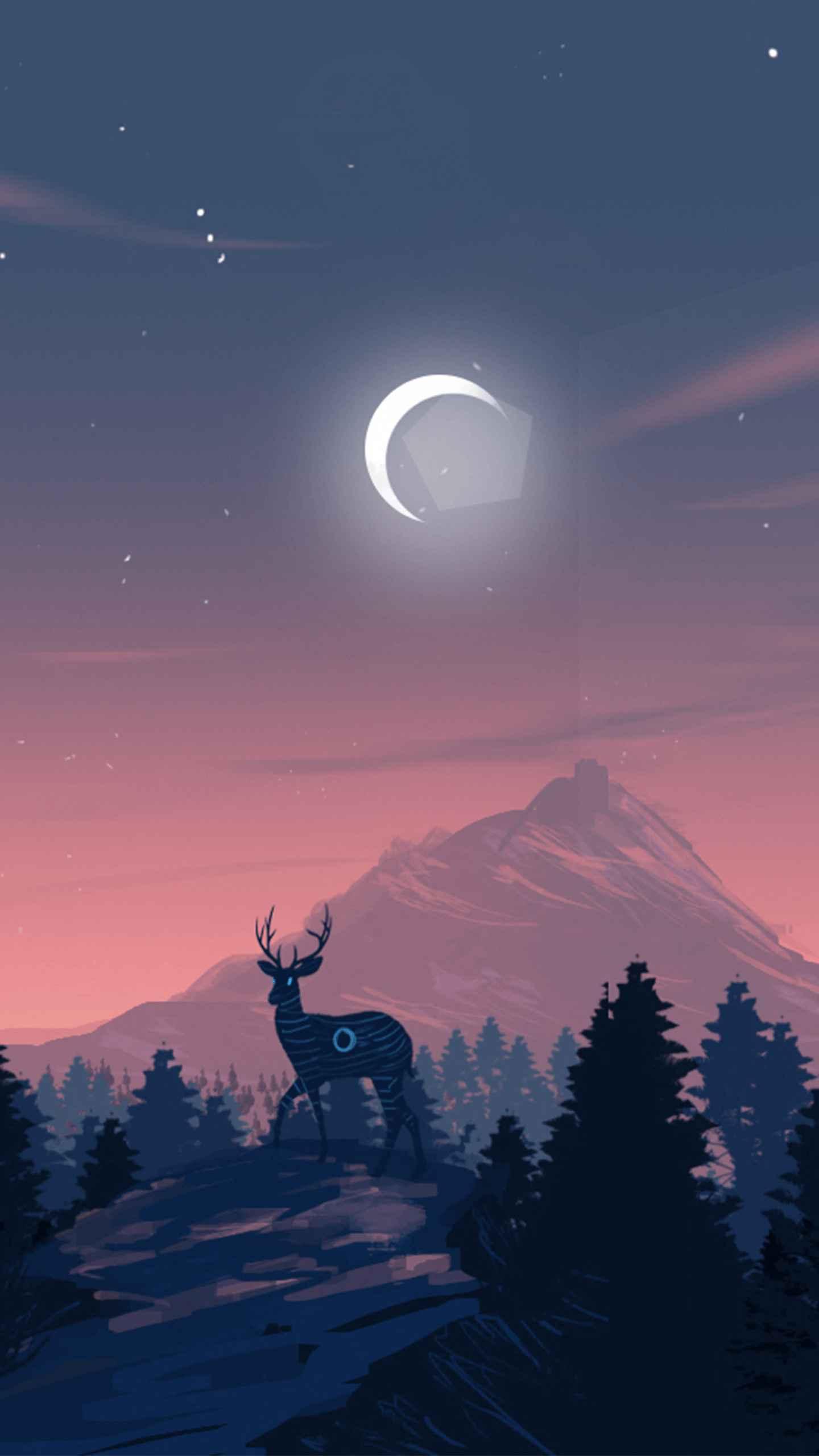 Deer Forest night iPhone Wallpaper
