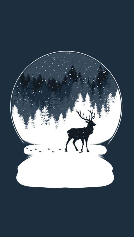 Deer Snow iPhone Wallpaper