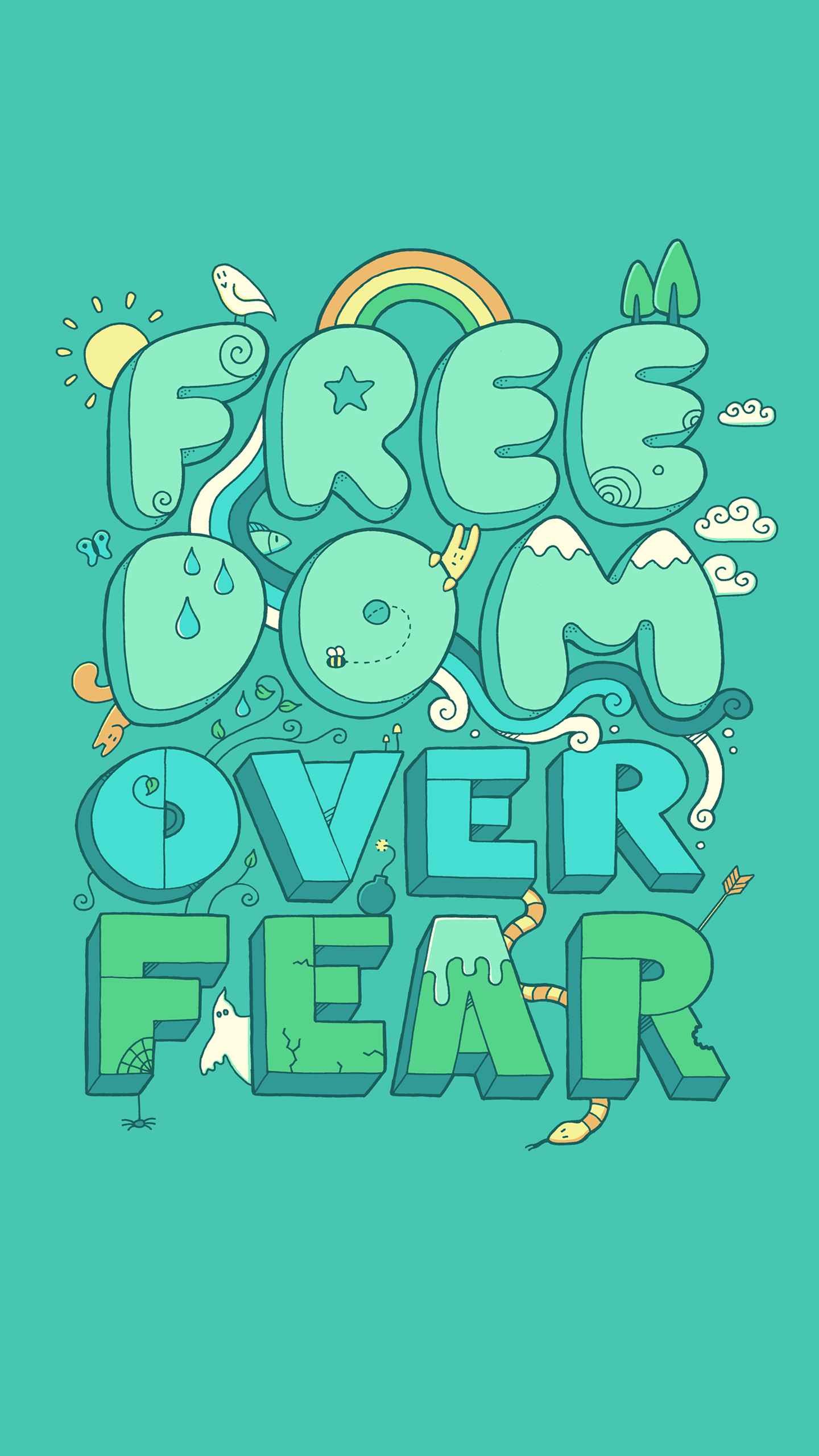 Freedom over fear iPhone Wallpaper