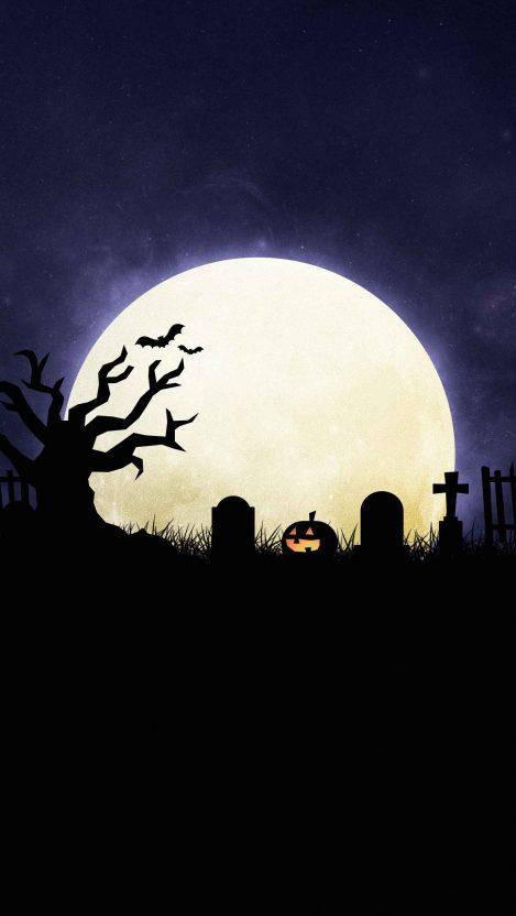 Halloween Grim Graveyard iPhone Wallpaper
