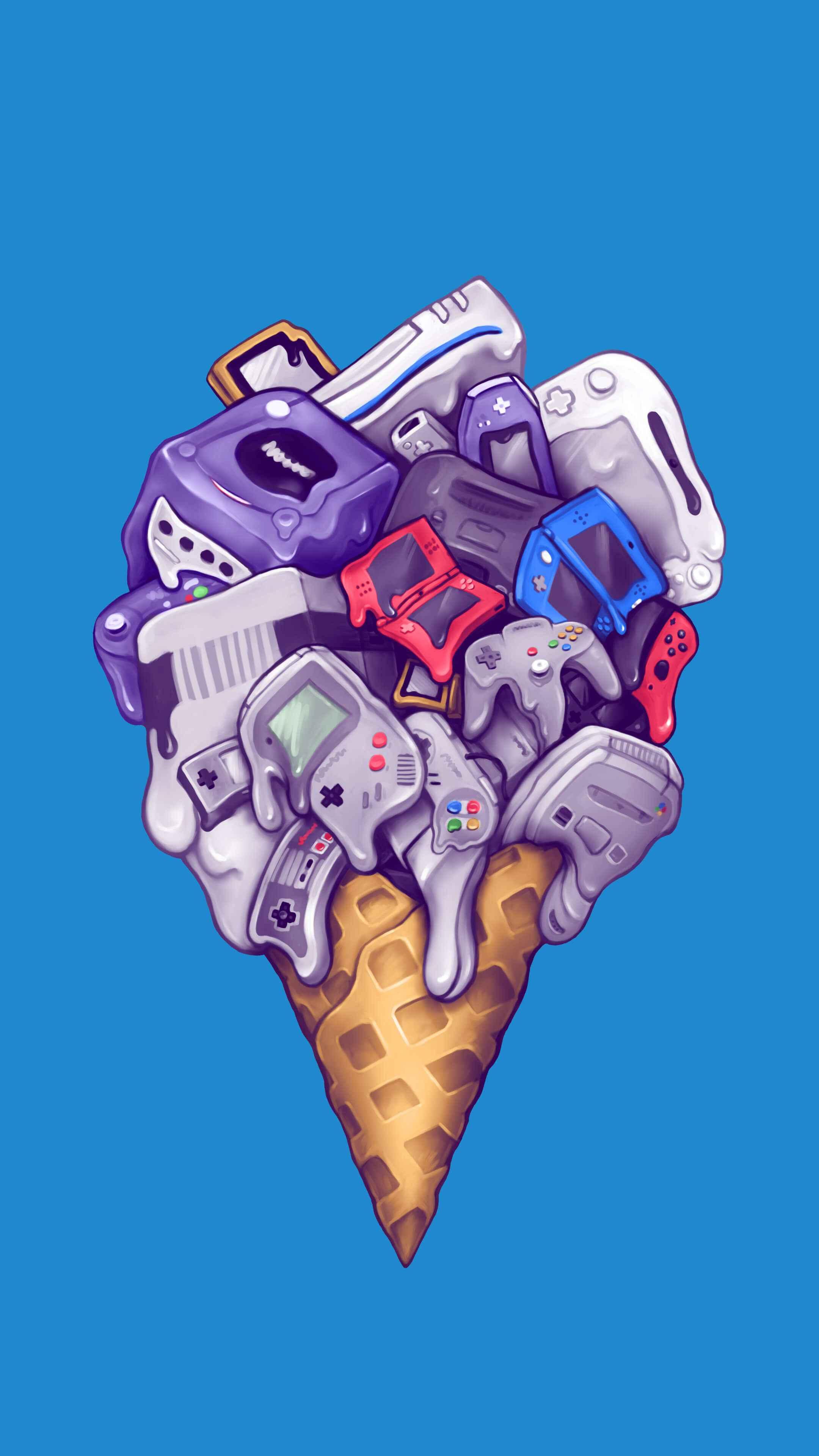Ice cream Nintendo consoles iPhone Wallpaper