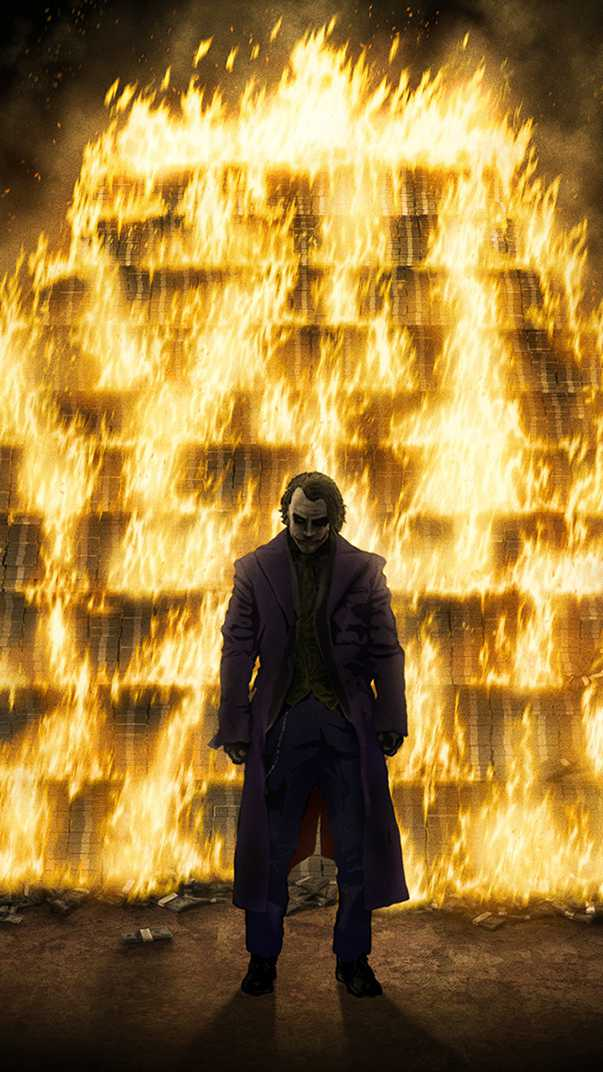 Joker Burning Money iPhone Wallpaper