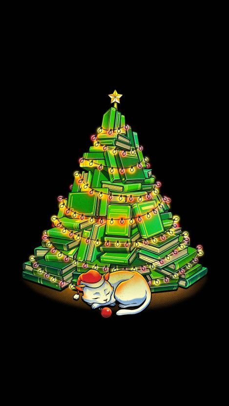 Kitty Christmas Tree iPhone Wallpaper