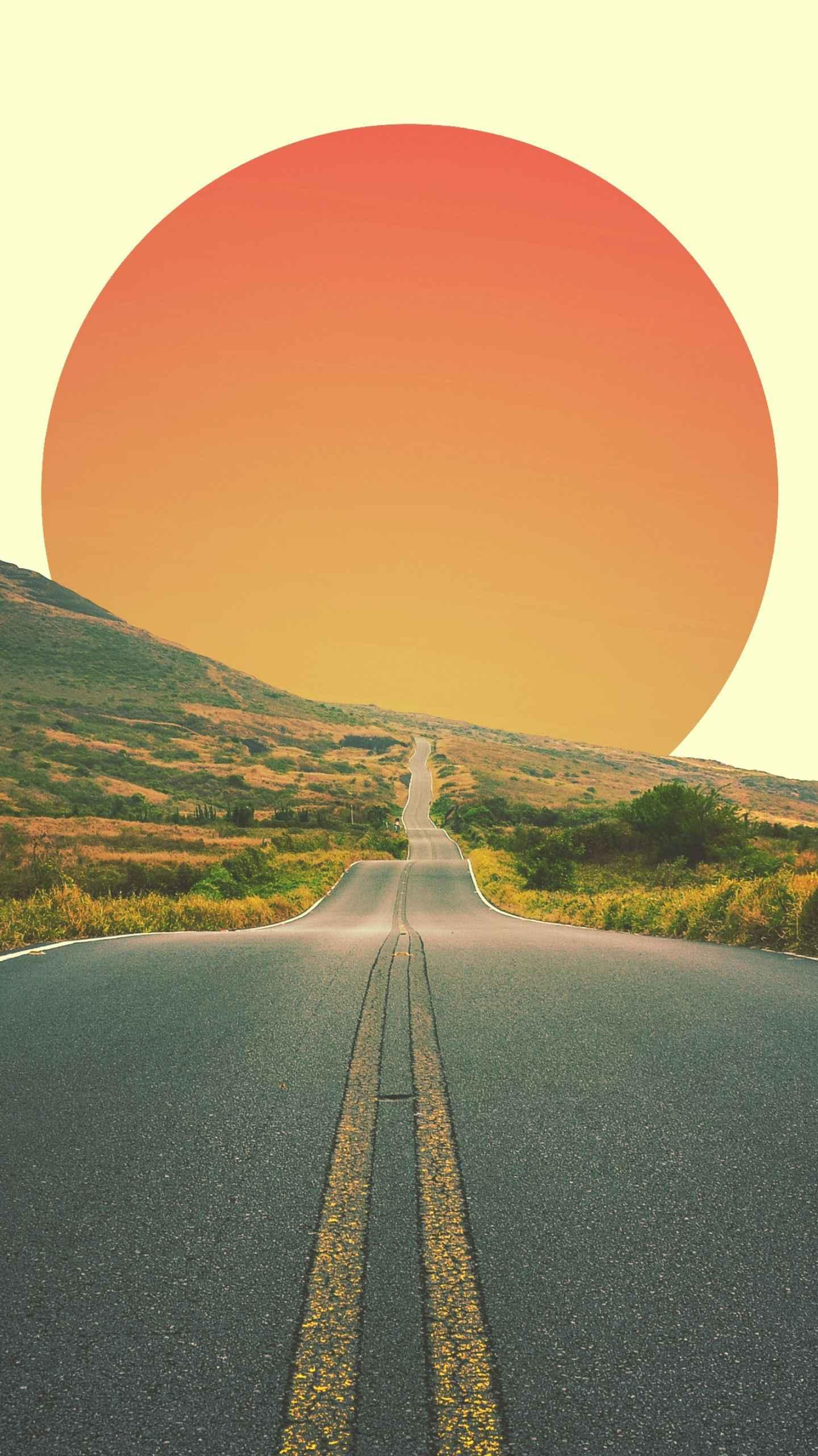 Long Road Sun iPhone Wallpaper