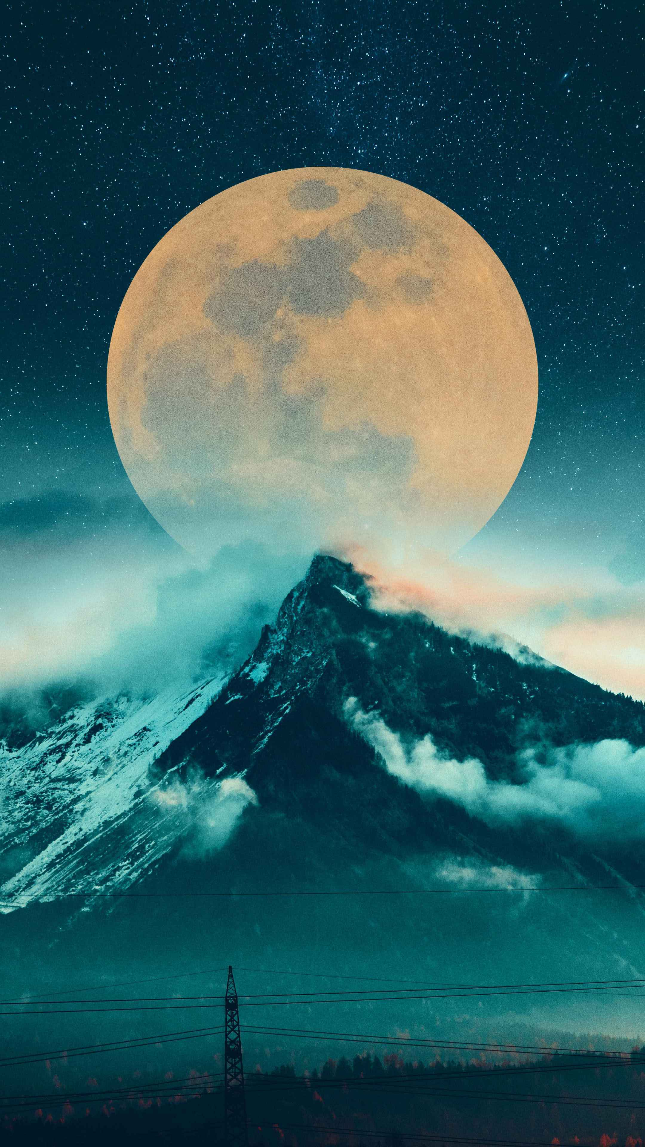 Mountain Moon iPhone Wallpaper