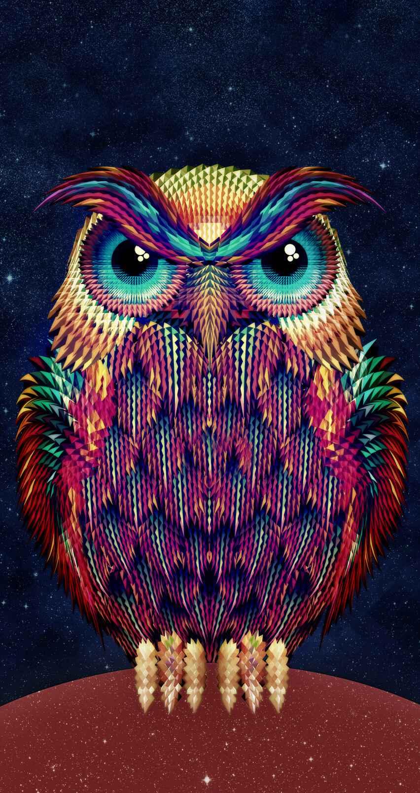 Owl Art iPhone Wallpaper