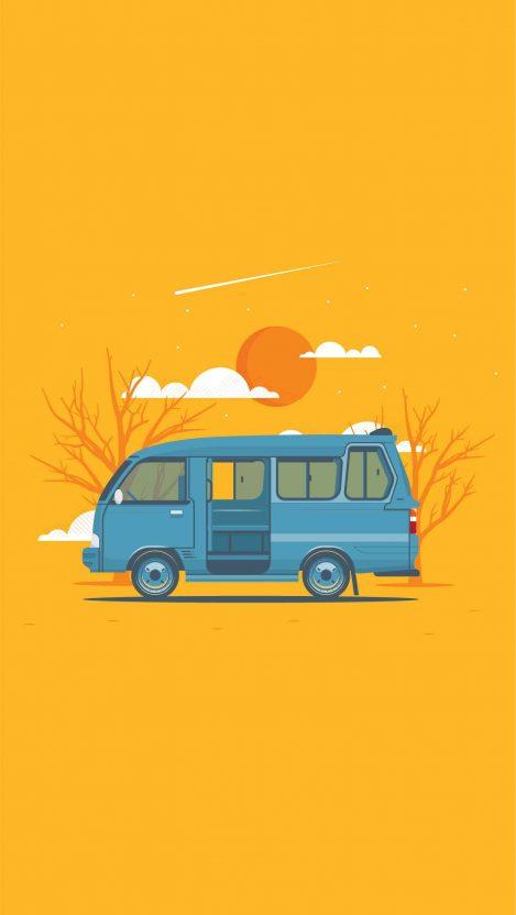 Retro Van iPhone Wallpaper
