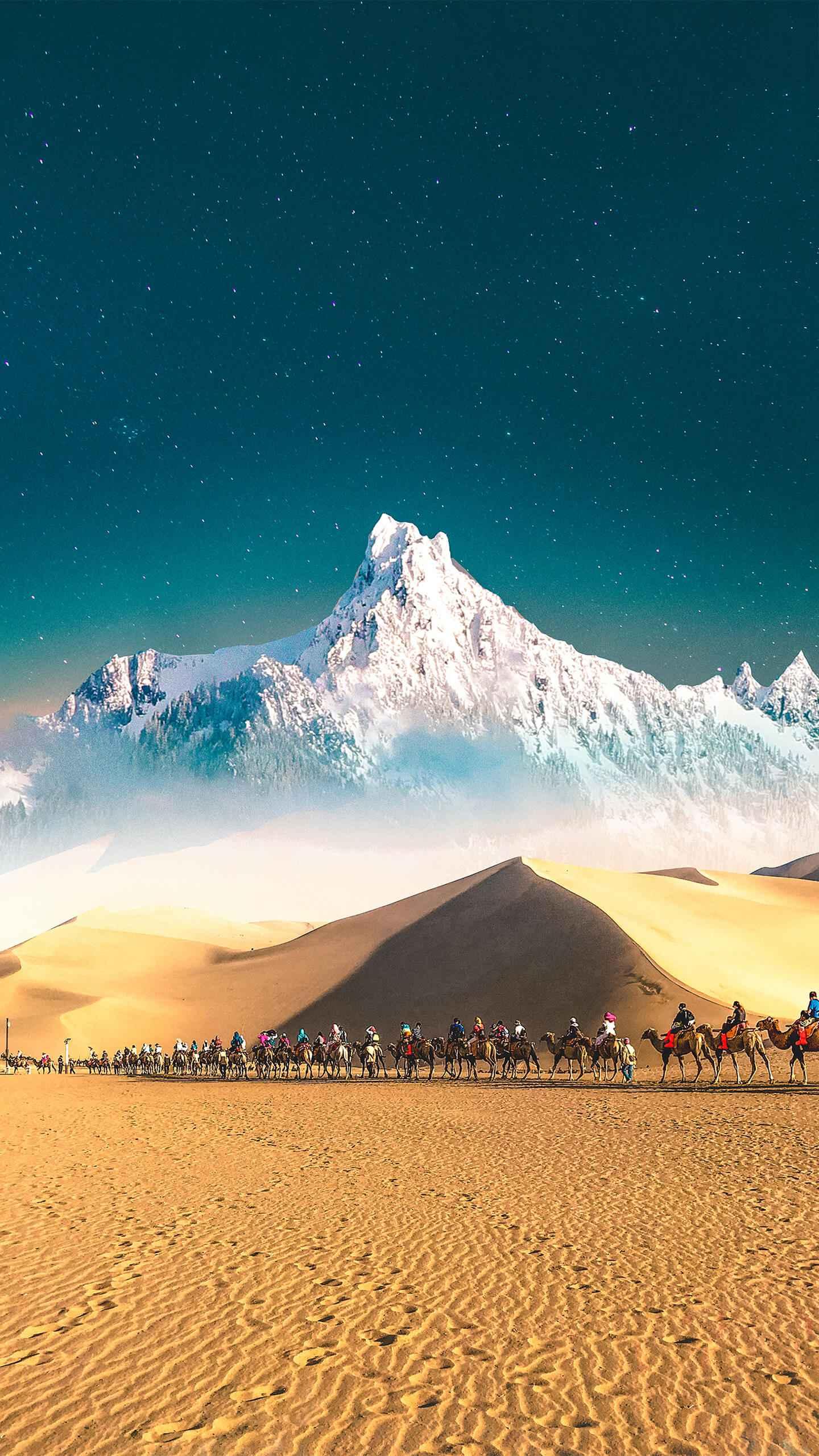 Snow in Desert iPhone Wallpaper