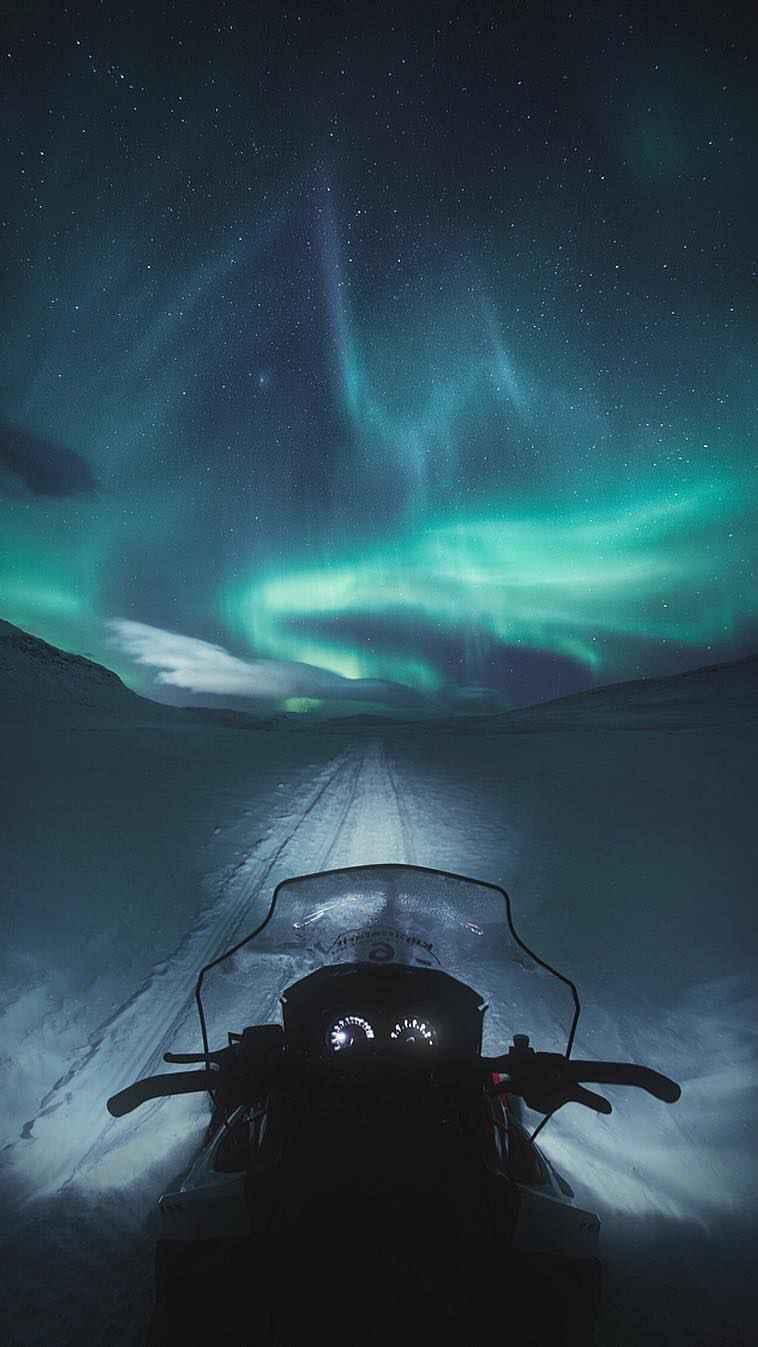 Snowmobile Night Aurora iPhone Wallpaper