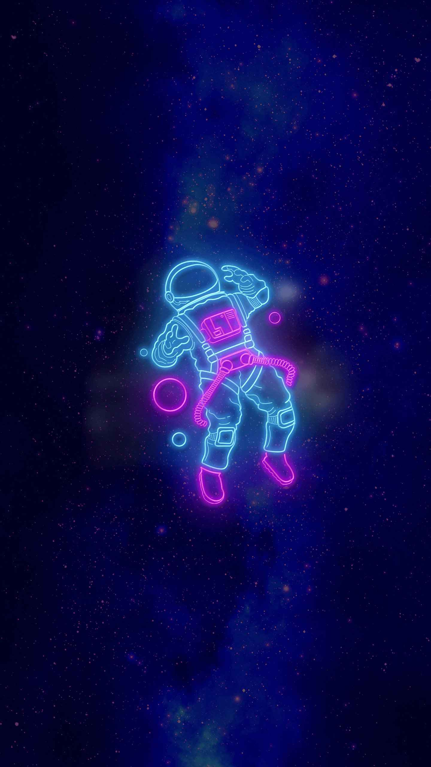 Space Neon iPhone Wallpaper